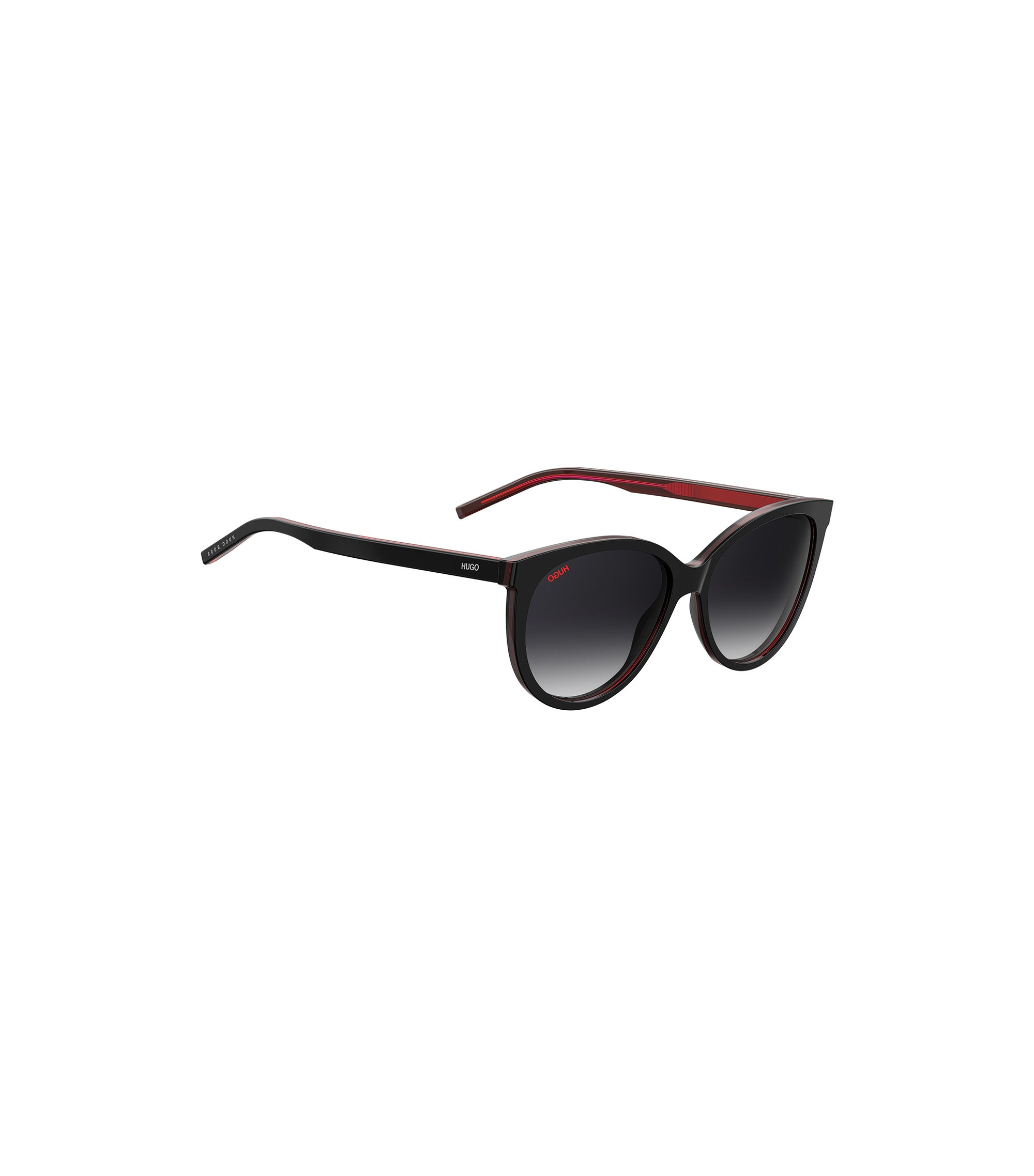Reverse-logo sunglasses in dark-red acetate, Black