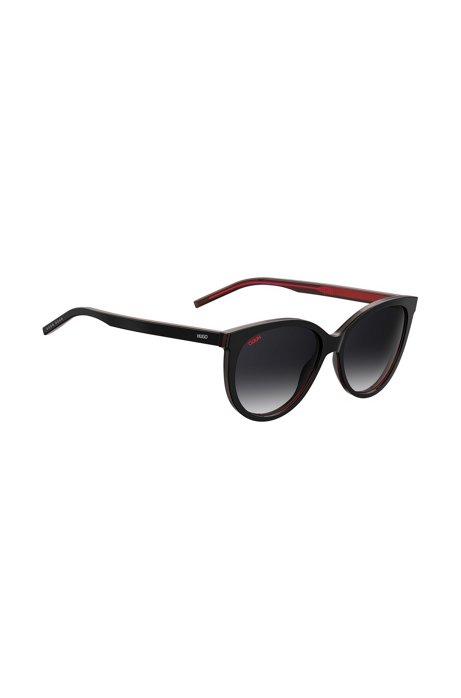 Gafas de sol con logo invertido en acetato rojo oscuro, Negro