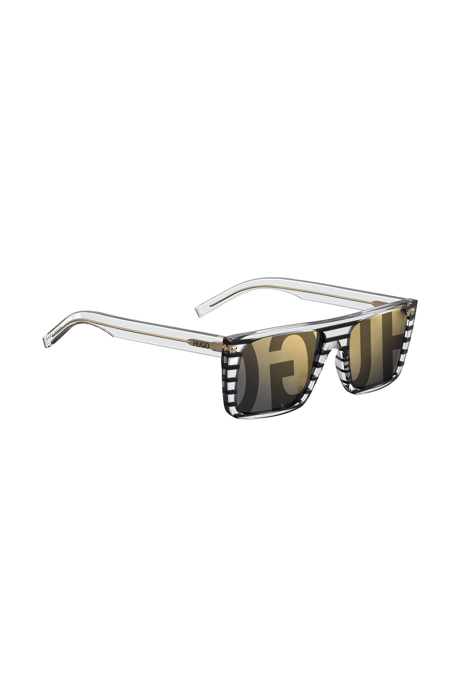 Occhiali da sole in acetato a righe con logo sulle lenti, A disegni