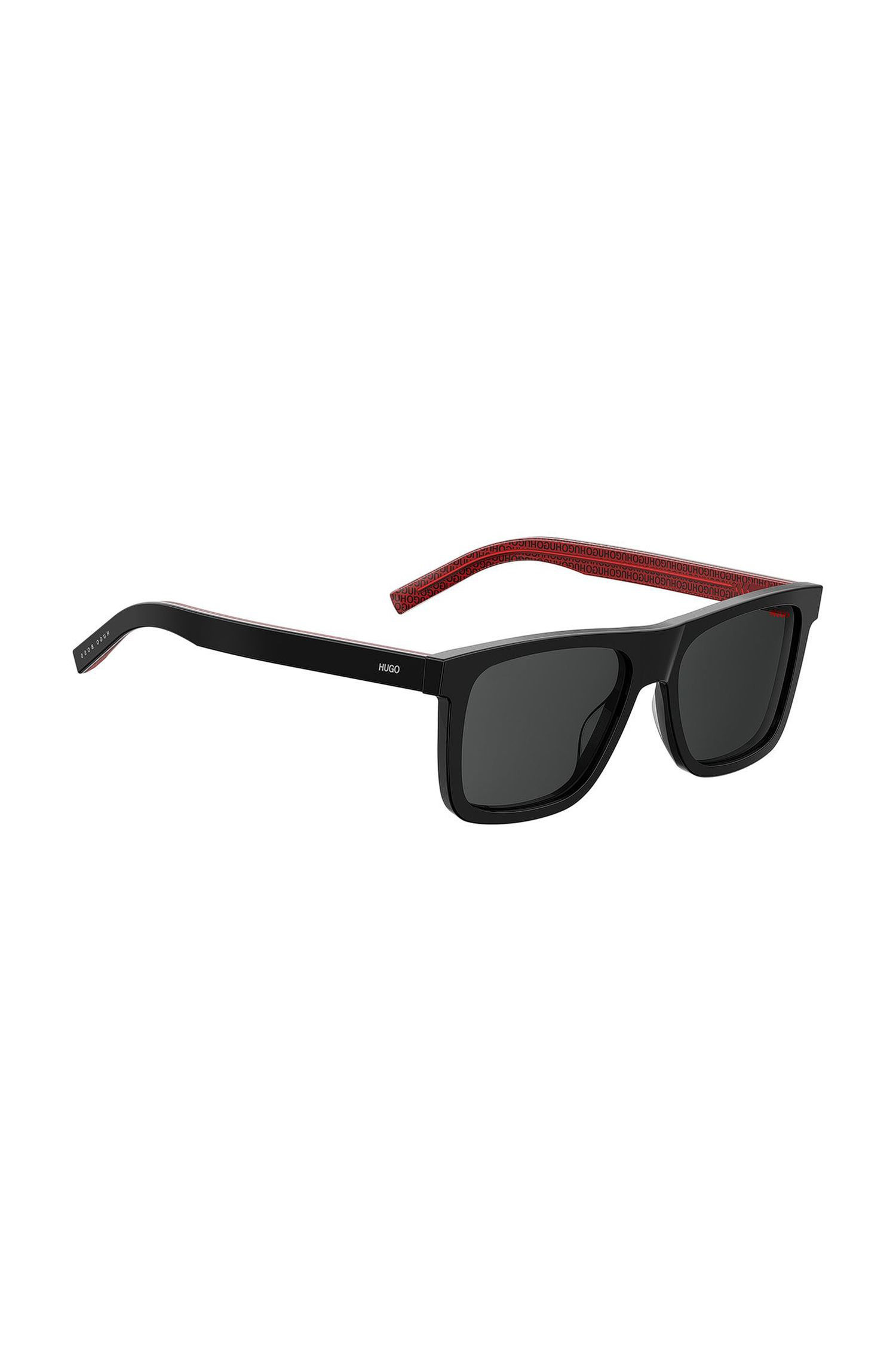Full black acetate sunglasses with logo-patterned inner temples, Black