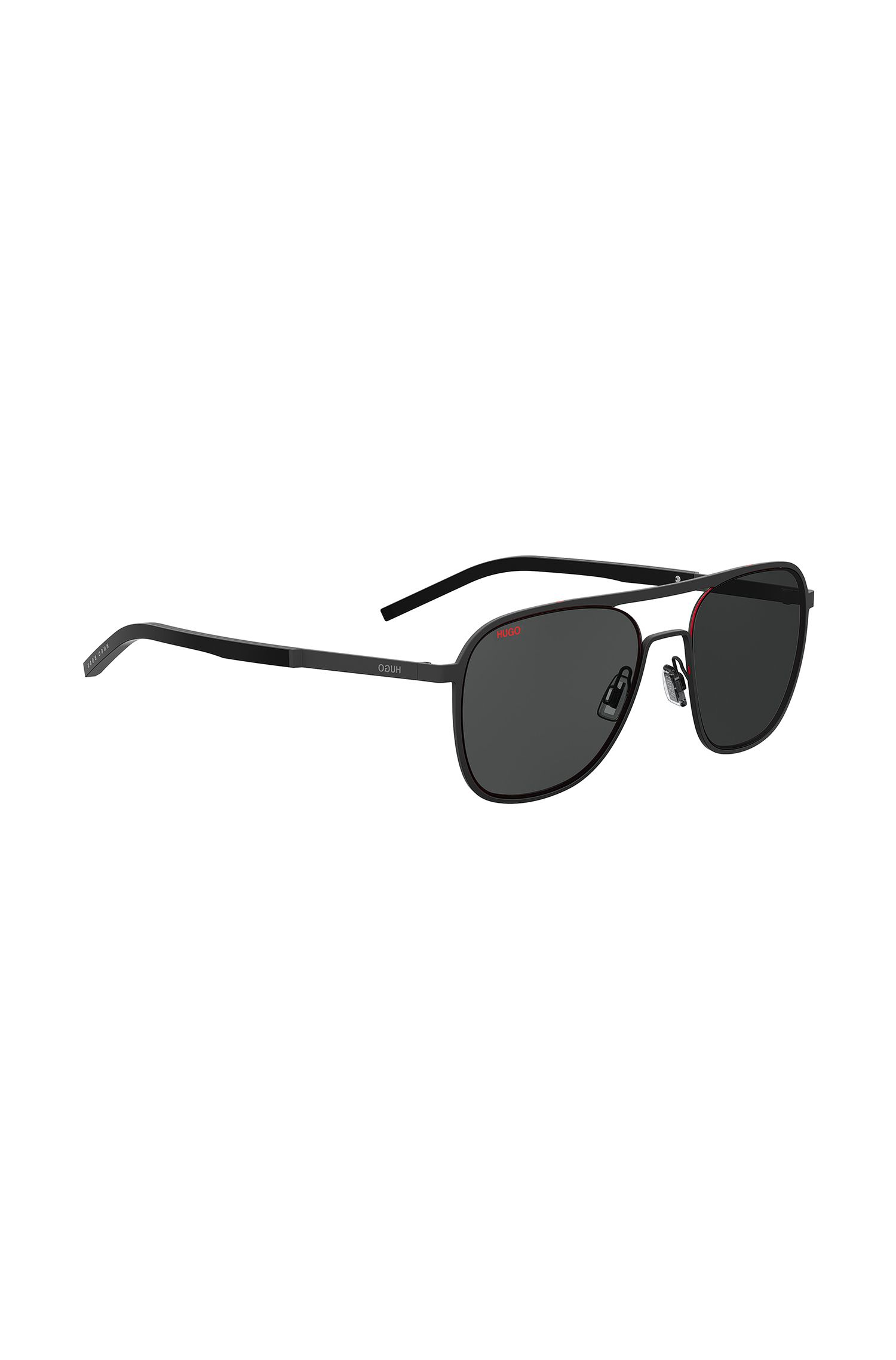 Black aviator sunglasses with double bridge, Black