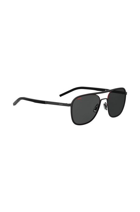 Black aviator sunglasses with double bridge, Black