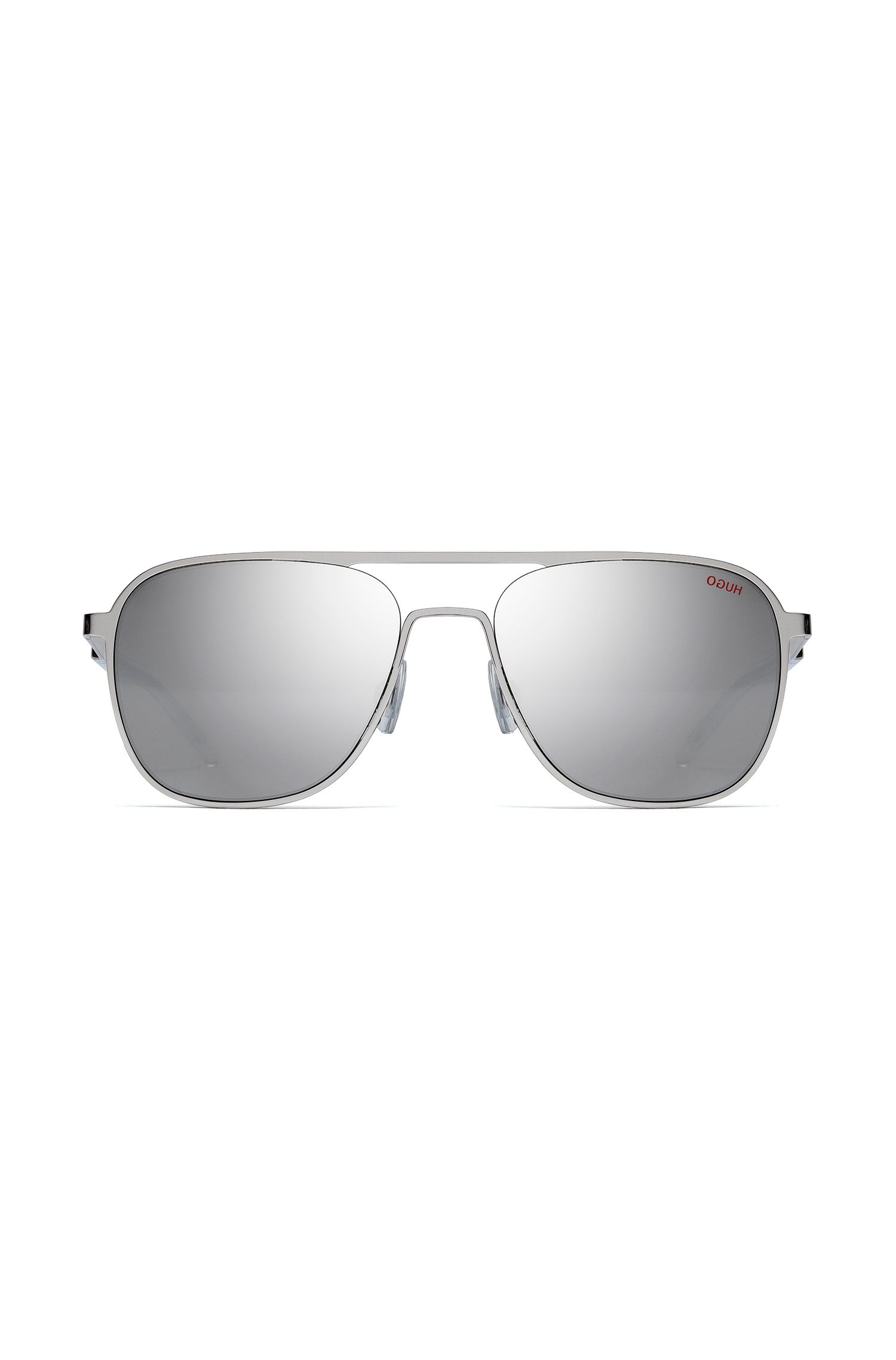 Silver-tone aviator sunglasses with mirrored lenses, Silver