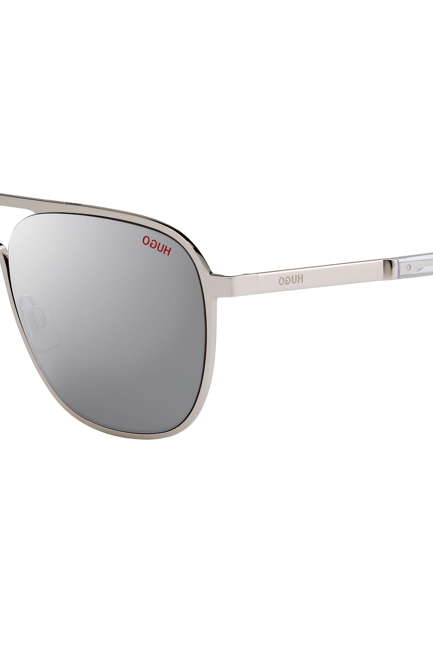 Silver-tone aviator sunglasses with mirrored lenses, Silver