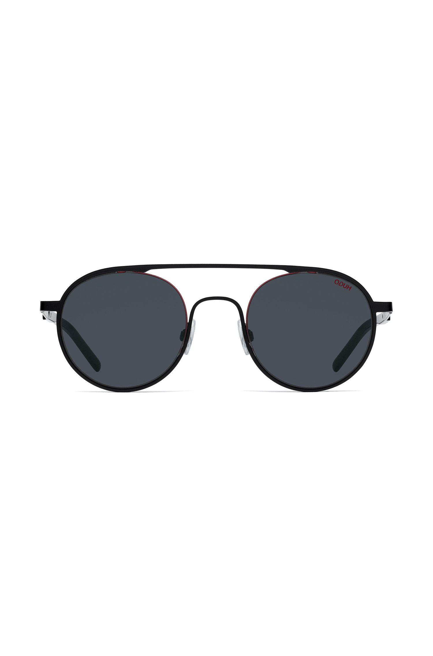 Occhiali da sole rotondi unisex con montatura in metallo nera, Nero