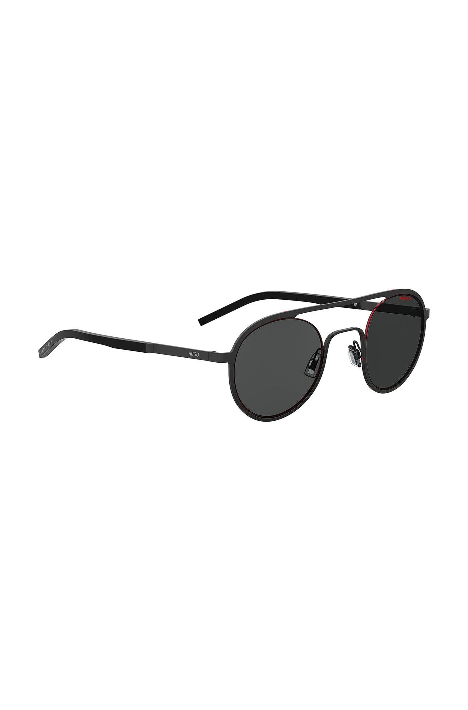 Unisex-Sonnenbrille mit runden Gläsern und schwarzer Metallfassung, Schwarz