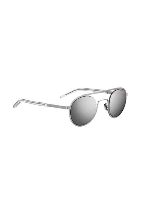 Unisex silver-tone sunglasses with round lenses, Silver