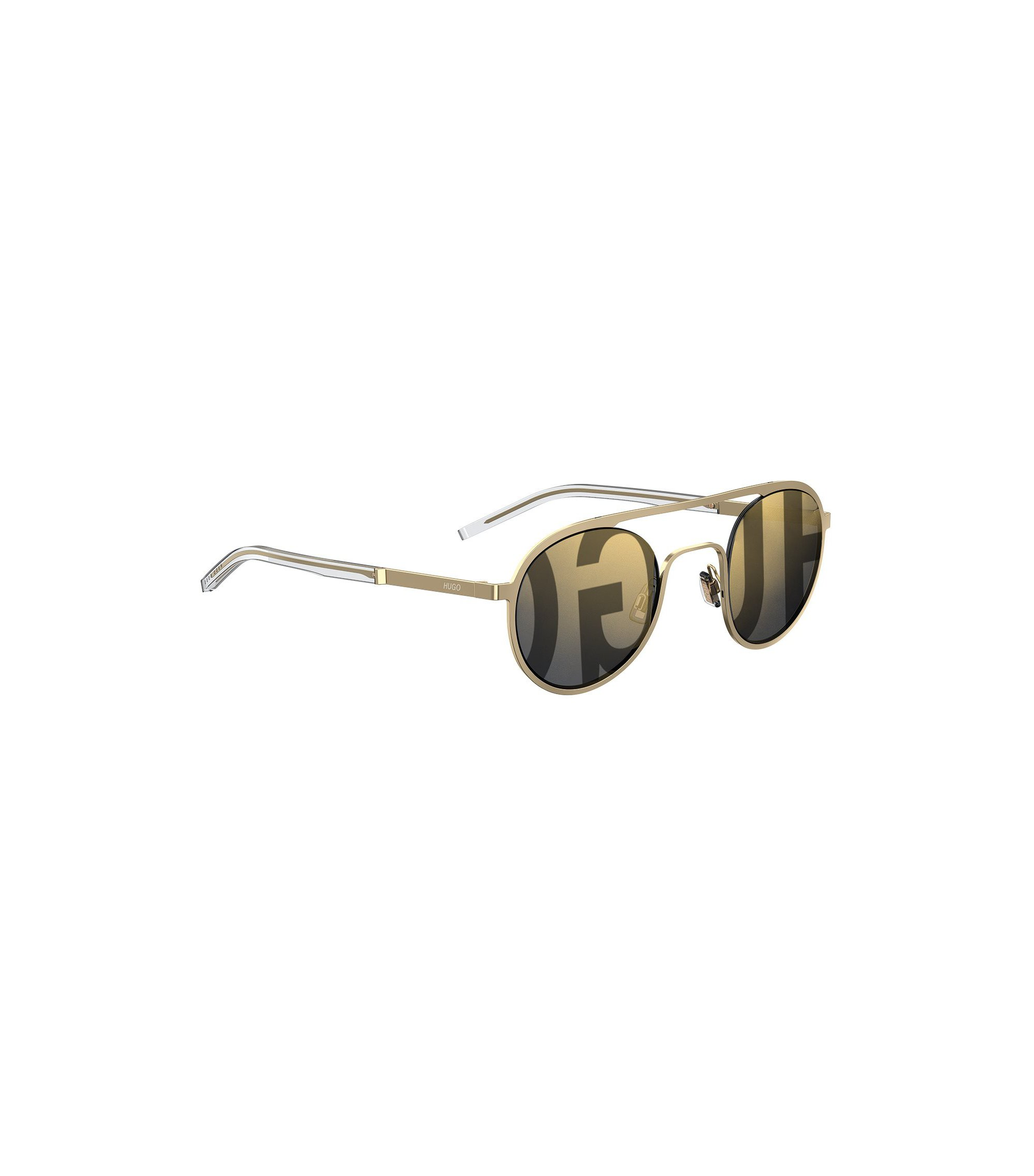 Unisex gold-tone round sunglasses with logo lenses, Gold