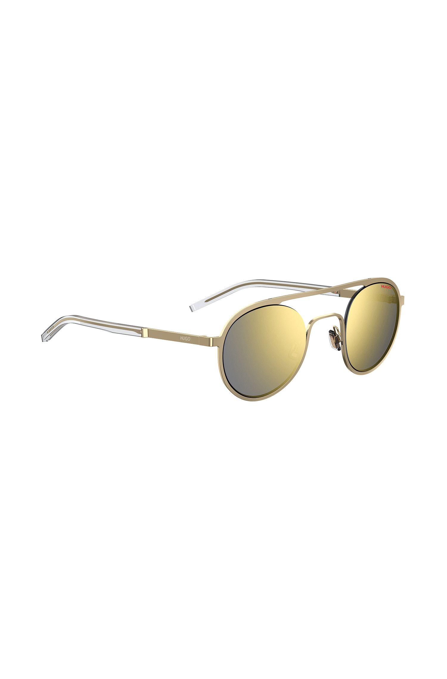 Unisex gold-tone sunglasses with double bridge, Gold