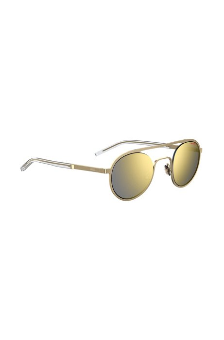 Unisex gold-tone sunglasses with double bridge, Gold