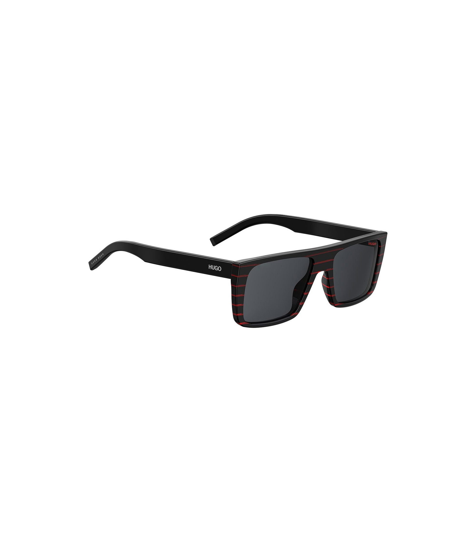 Squared sunglasses in red and black striped acetate, Black