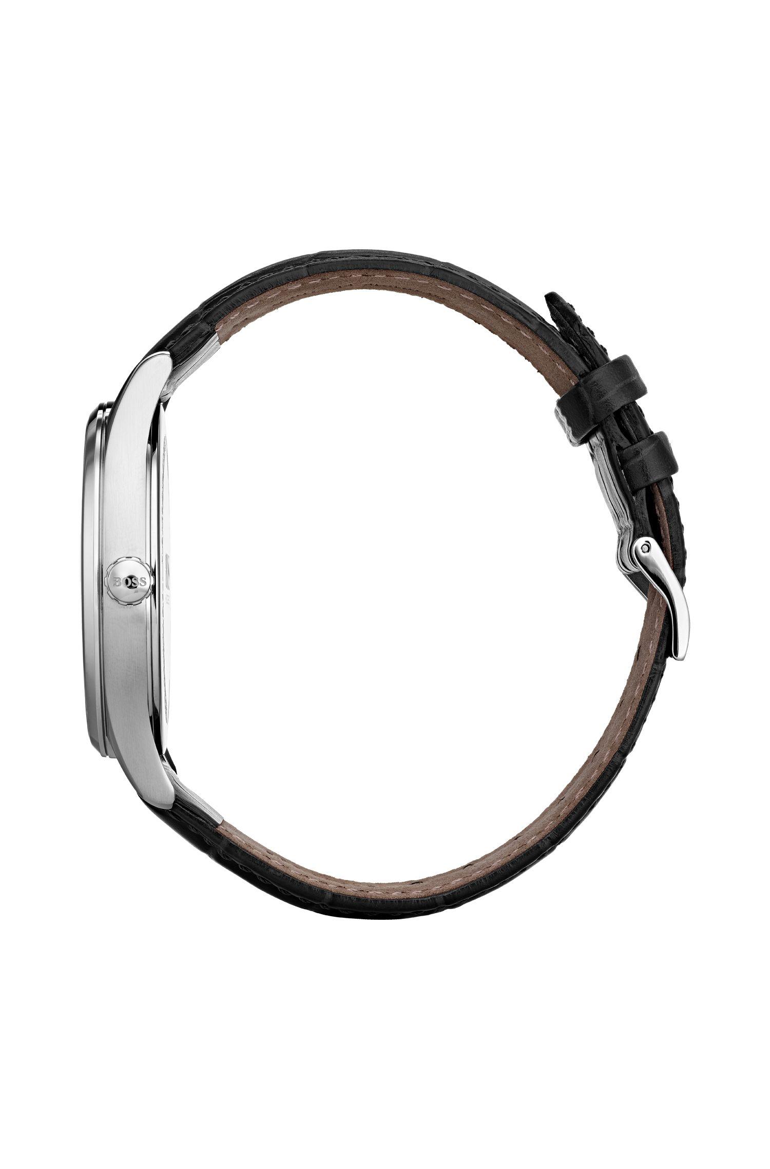 Orologio con quadrante a due livelli e cinturino in pelle, Nero
