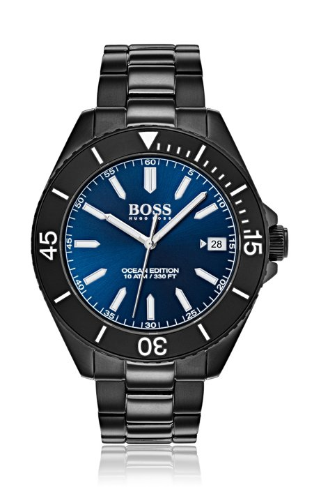 Luminova-horloge van zwartgecoat roestvrij staal, Zwart