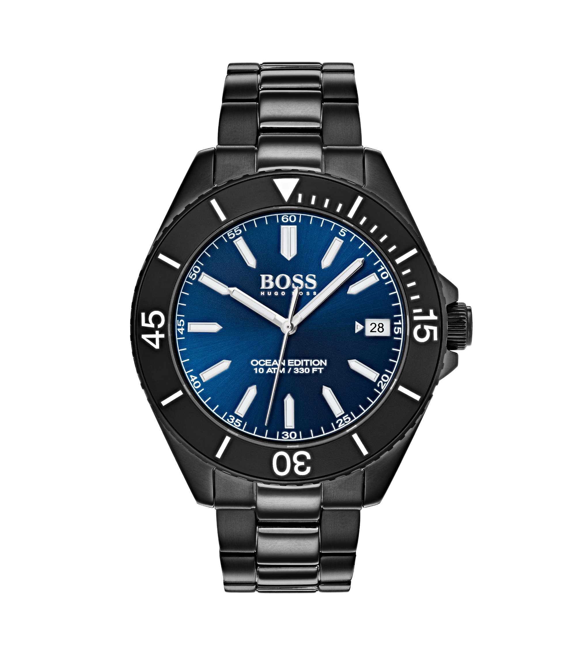 Luminova watch in black-plated stainless steel, Assorted-Pre-Pack