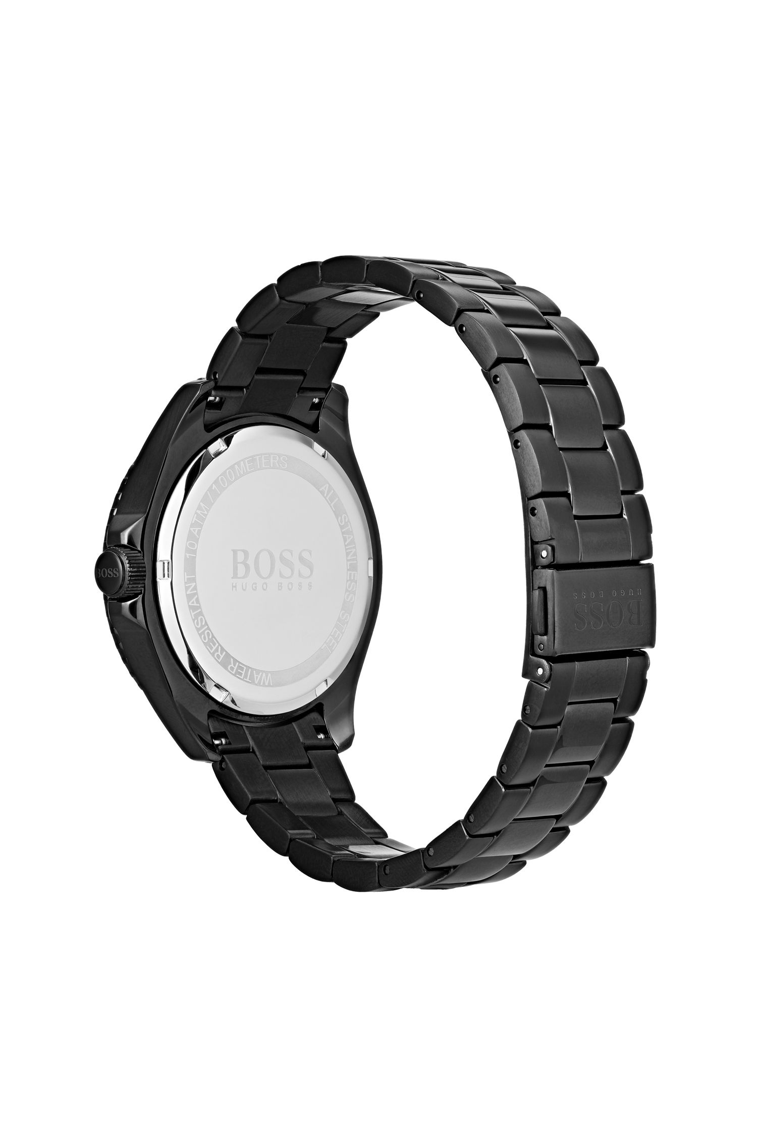 Luminova watch in black-plated stainless steel, Black