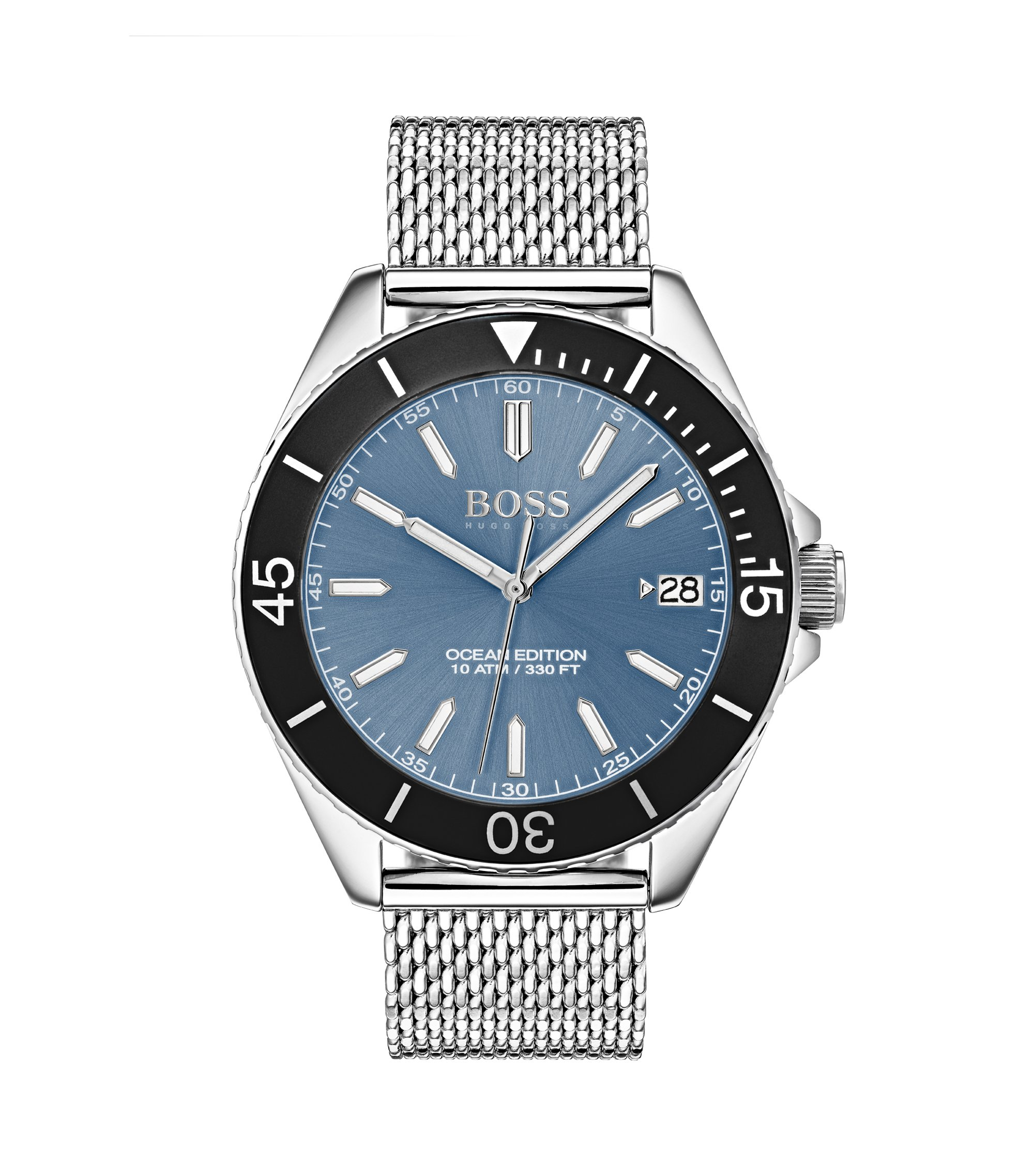 Stainless-steel watch with rotating bezel, luminova details and mesh bracelet, Silver