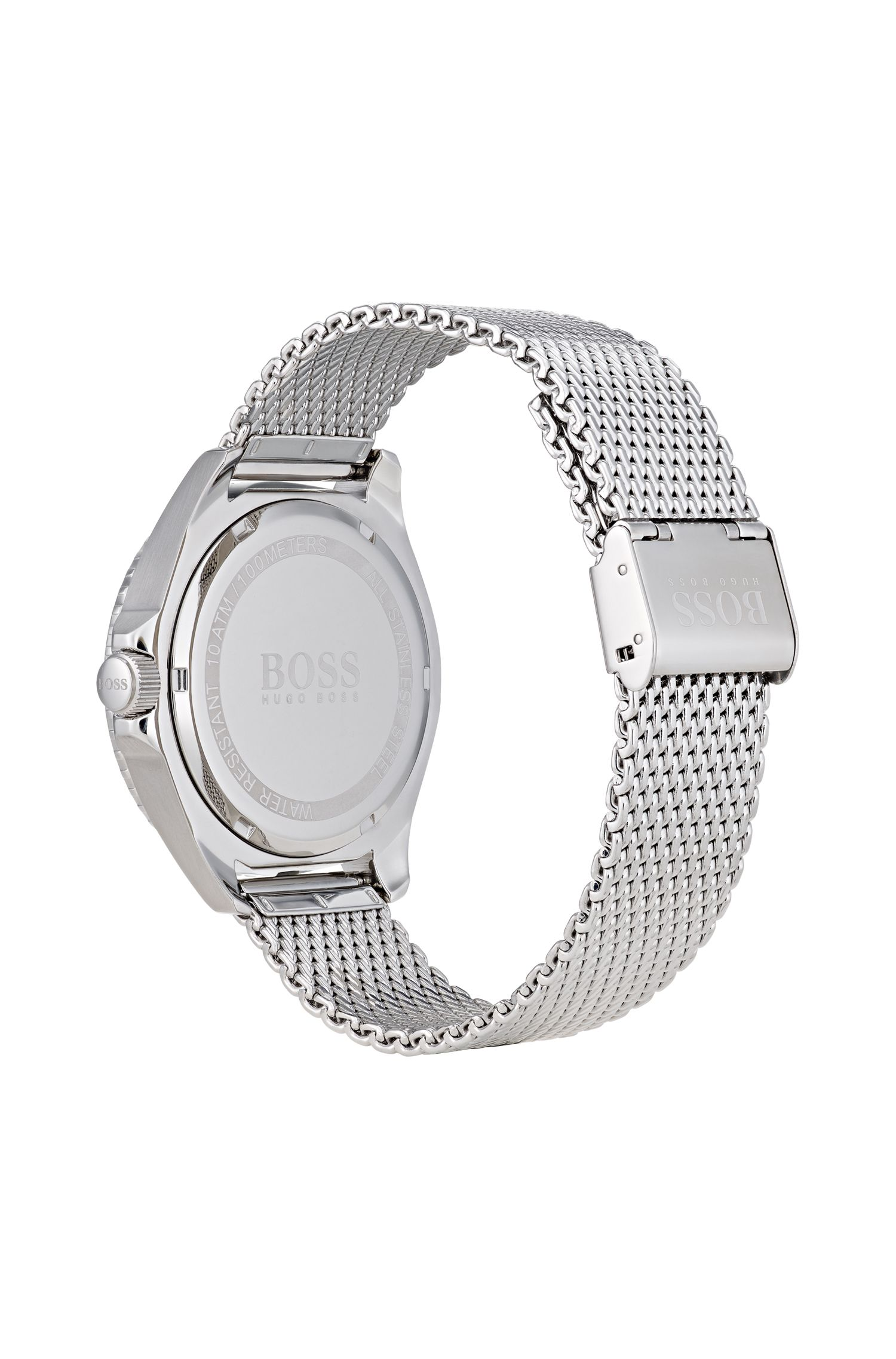 Stainless-steel watch with rotating bezel, luminova details and mesh bracelet
