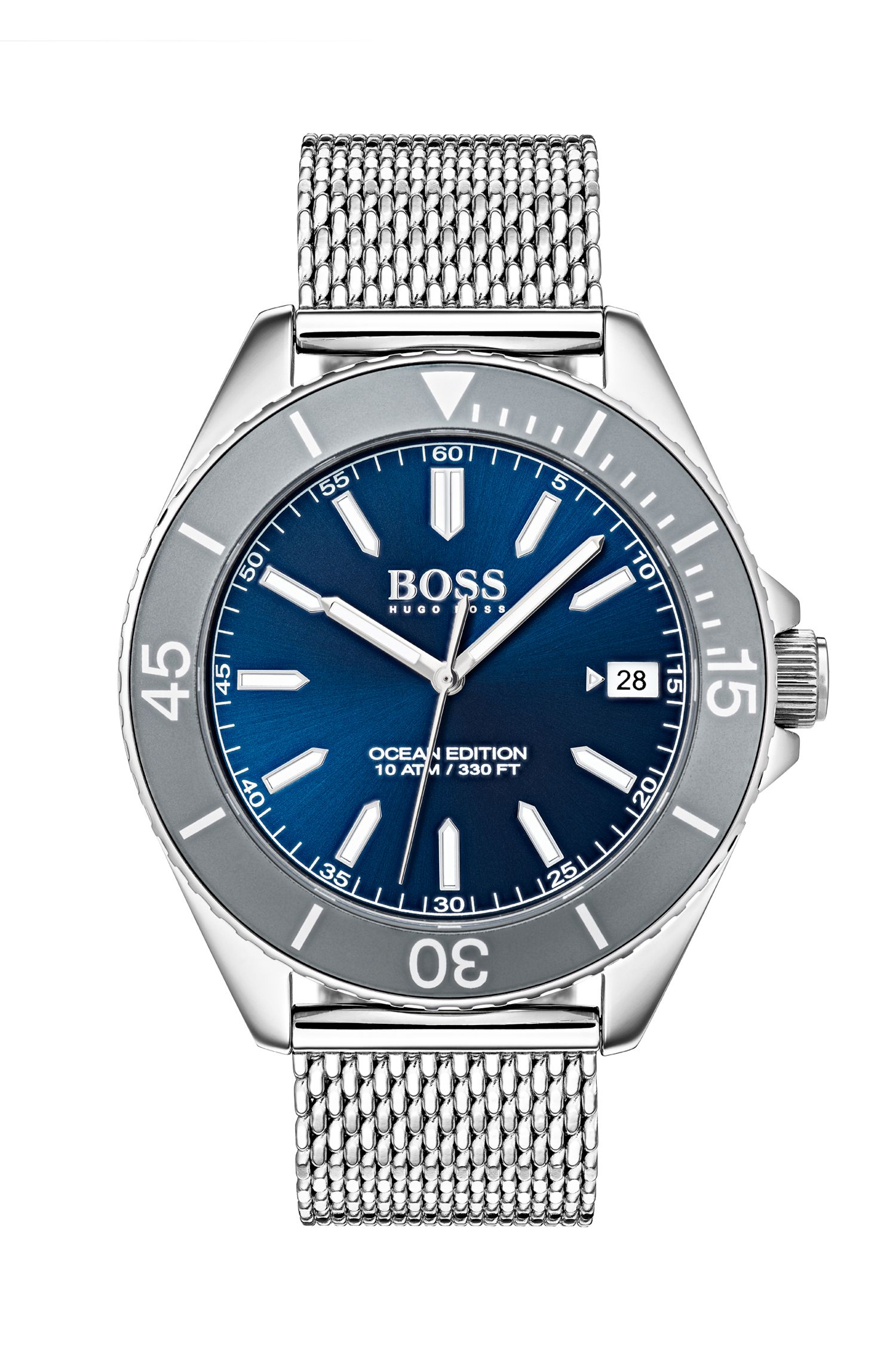 Uhr aus Edelstahl mit Milanaise-Armband und Luminova-Technologie