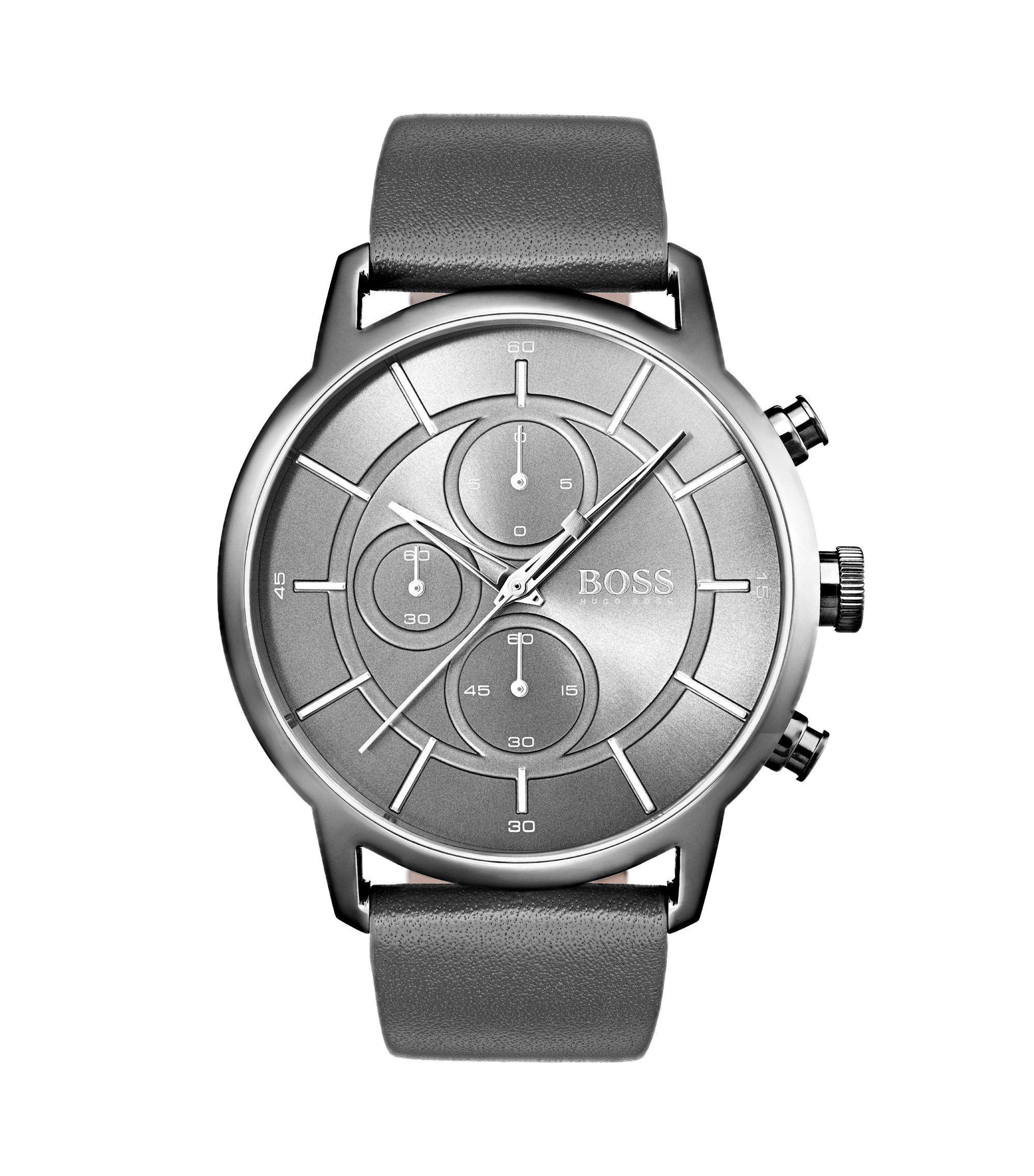Bauhaus-inspired watch with grey leather strap, Assorted-Pre-Pack