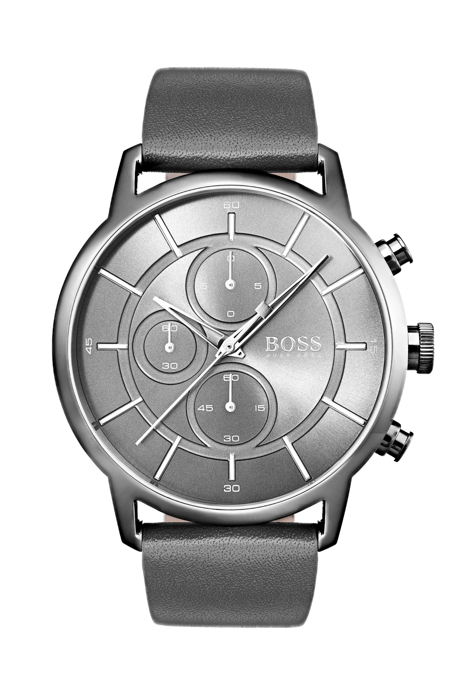 Bauhaus-inspired watch with grey leather strap