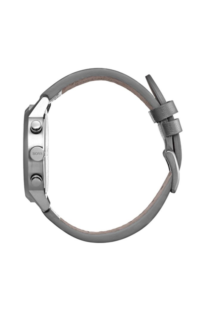 Bauhaus-inspirierte Armbanduhr aus Edelstahl mit Lederarmband