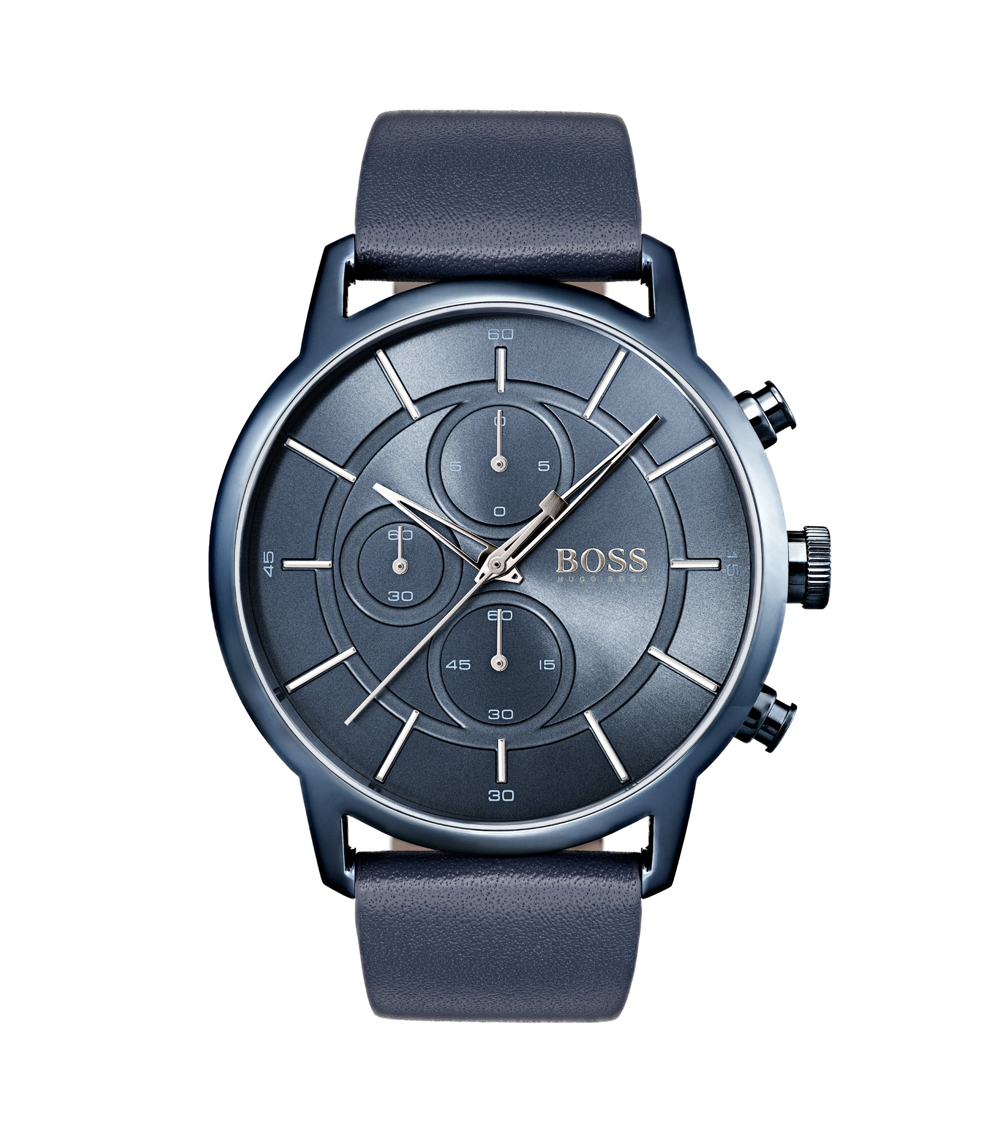 Bauhaus-inspired watch with blue leather strap, Assorted-Pre-Pack