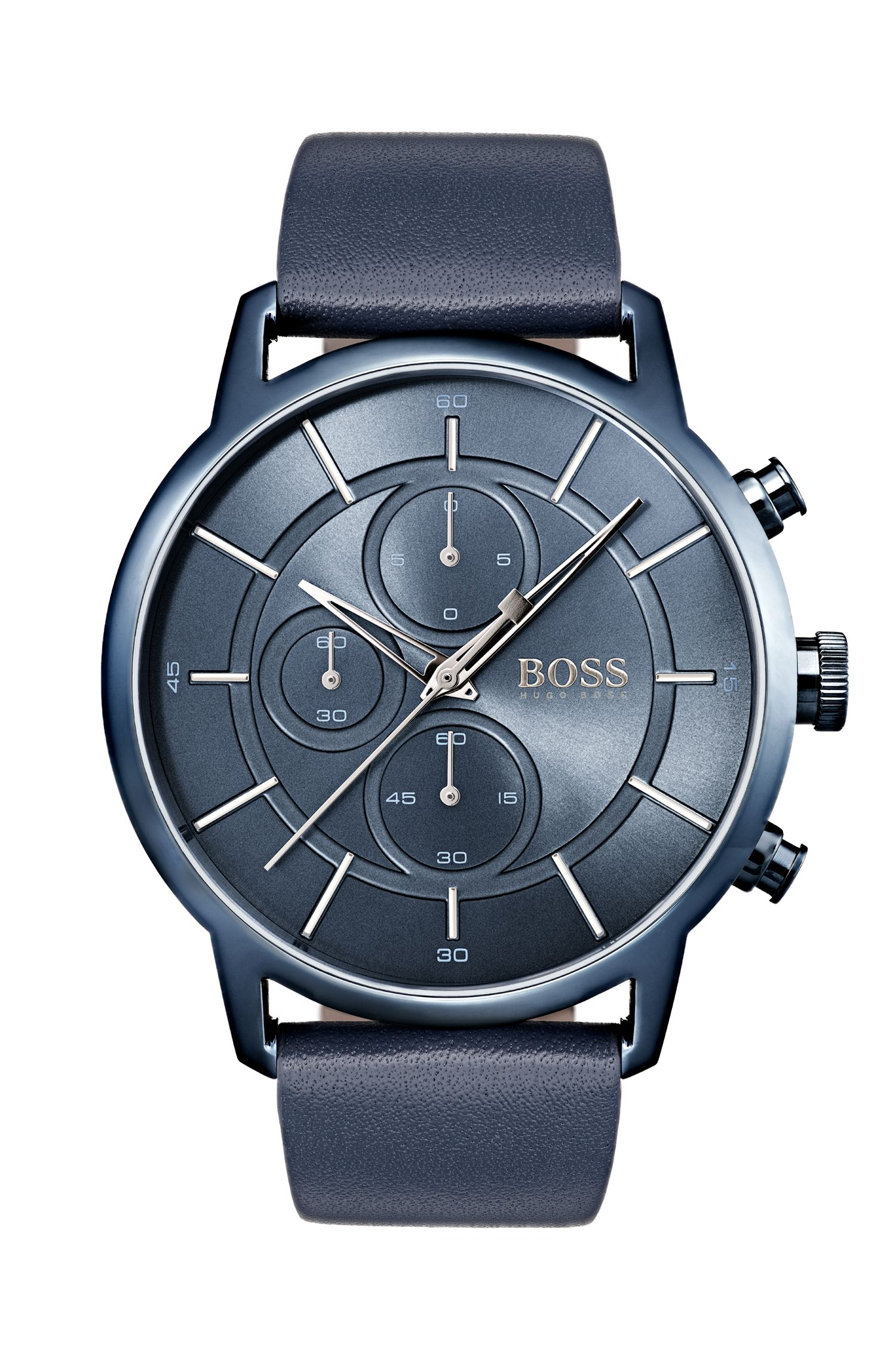 Bauhaus-inspired watch with blue leather strap