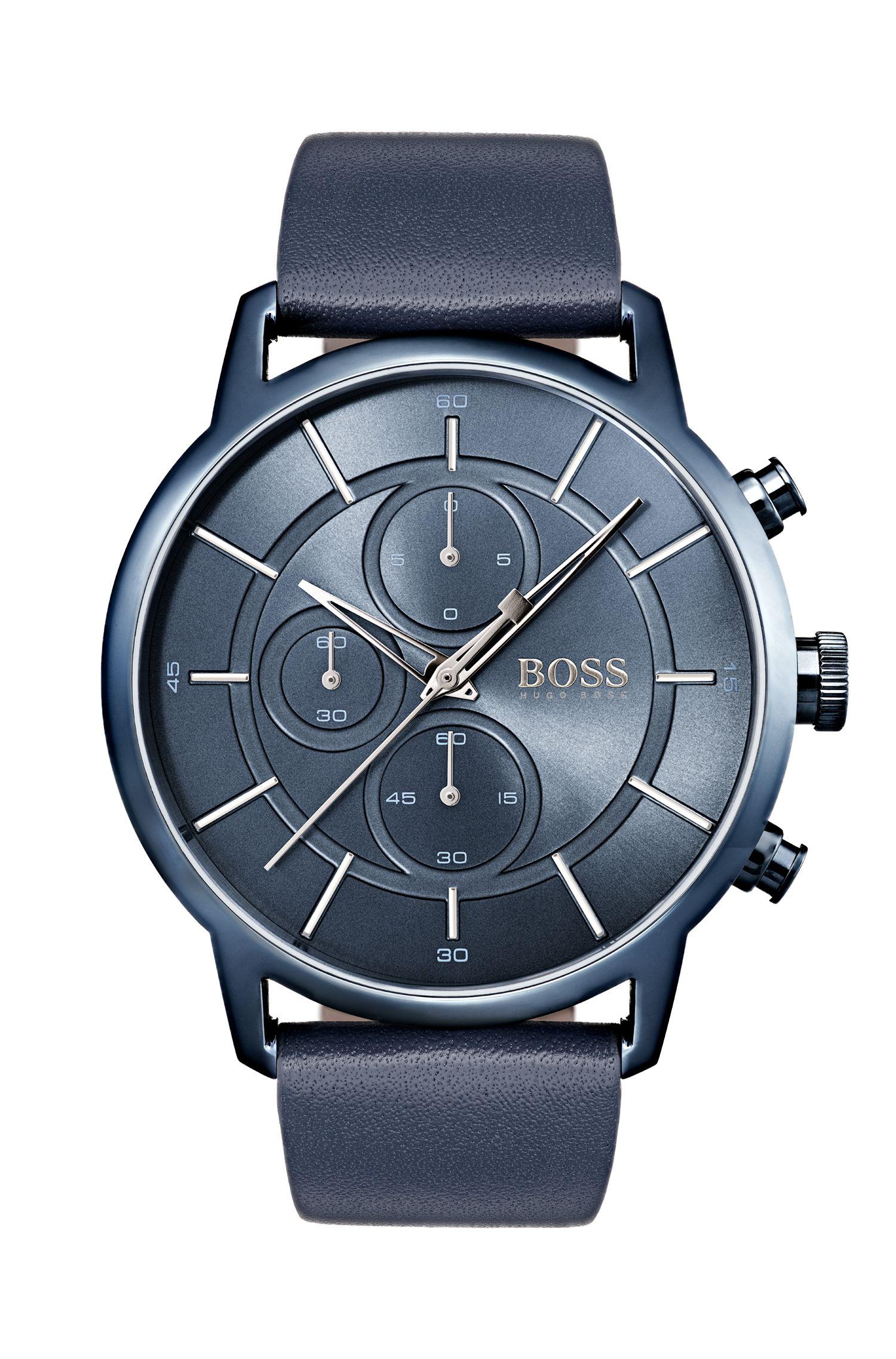 Montre à bracelet en cuir bleu inspirée du style Bauhaus
