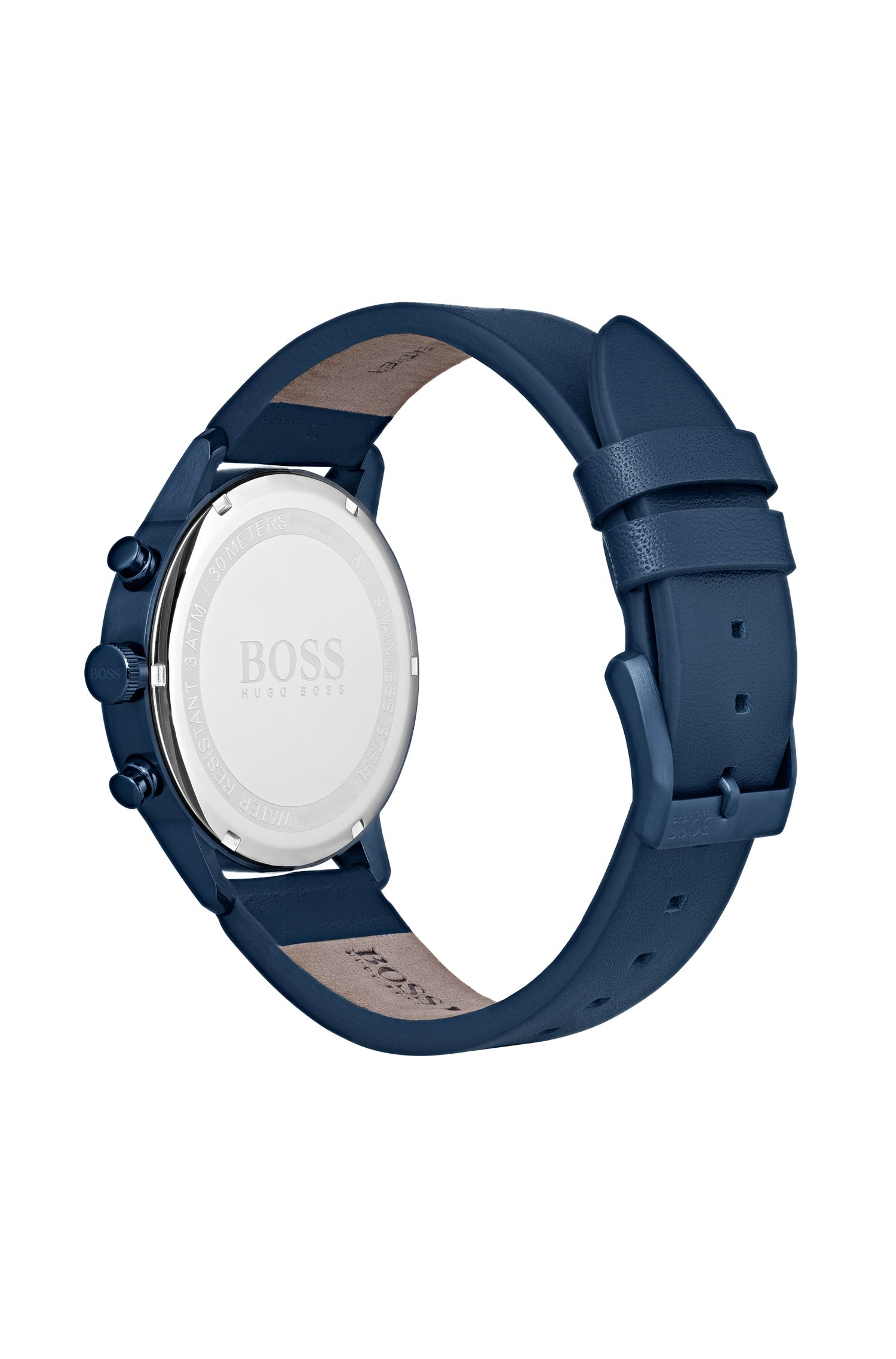 Bauhaus-inspired watch with blue leather strap, Blue