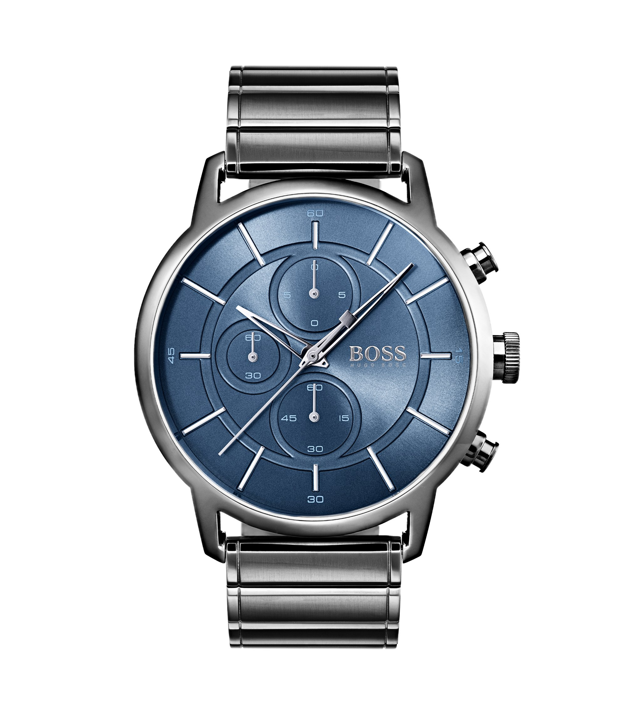 Bauhaus-inspired watch in grey-plated steel, Assorted-Pre-Pack