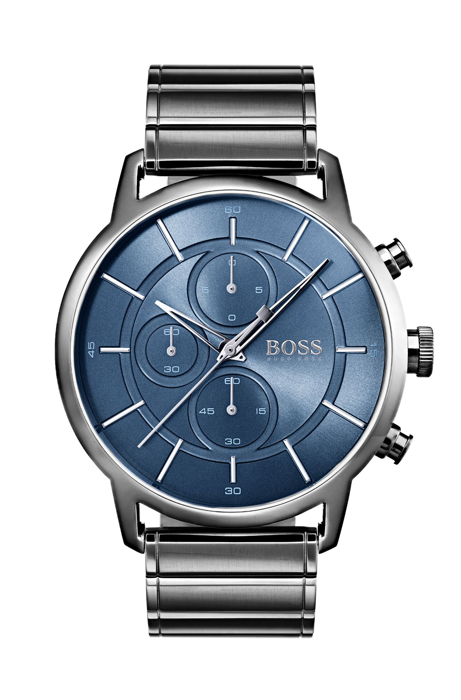 Bauhaus-inspired watch in grey-plated steel, Silver