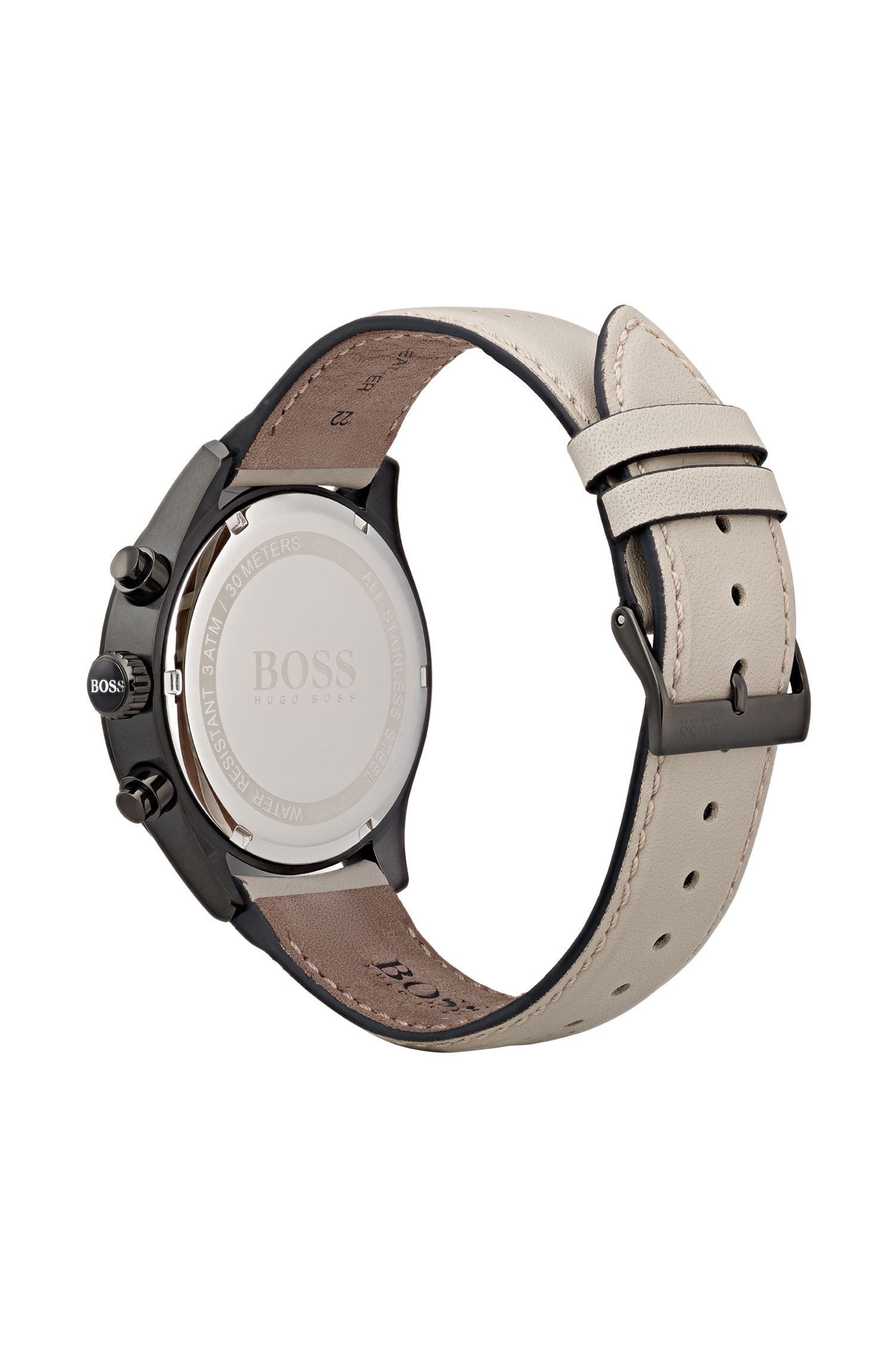 Black-plated stainless-steel watch with beige perforated leather strap , Natural