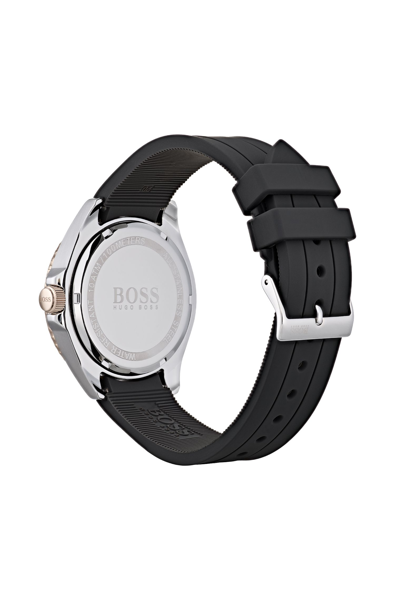 Silicone-strap watch with Luminova technology, Black