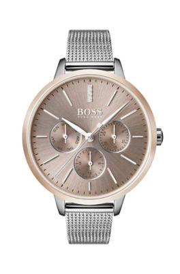 Multieye-Uhr aus Edelstahl mit Milanaise-Armband und Diamanten, Silber