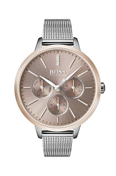 Mesh-bracelet watch with genuine diamonds, Silver