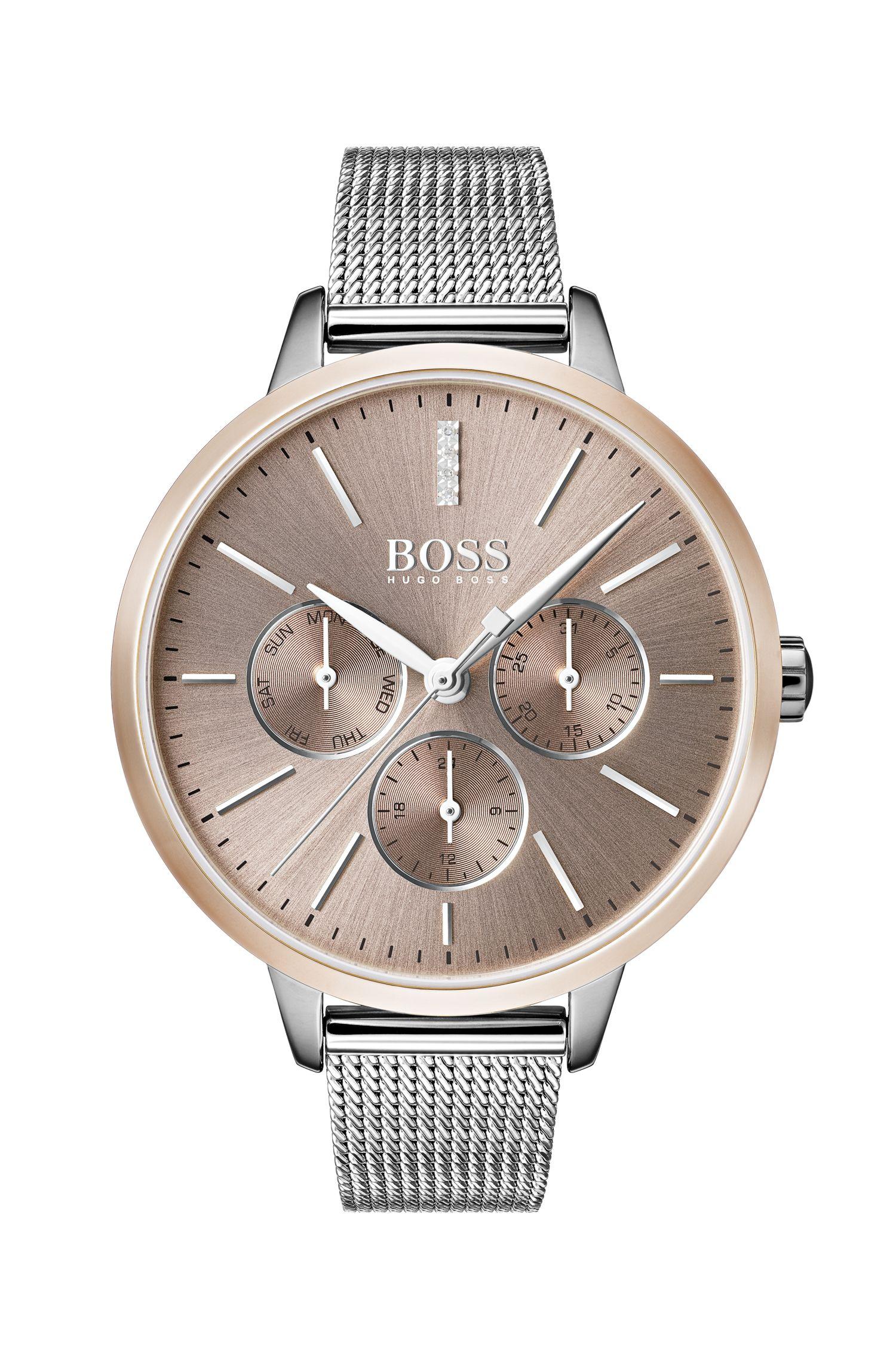Reloj con pulsera de malla y diamantes auténticos, Plata