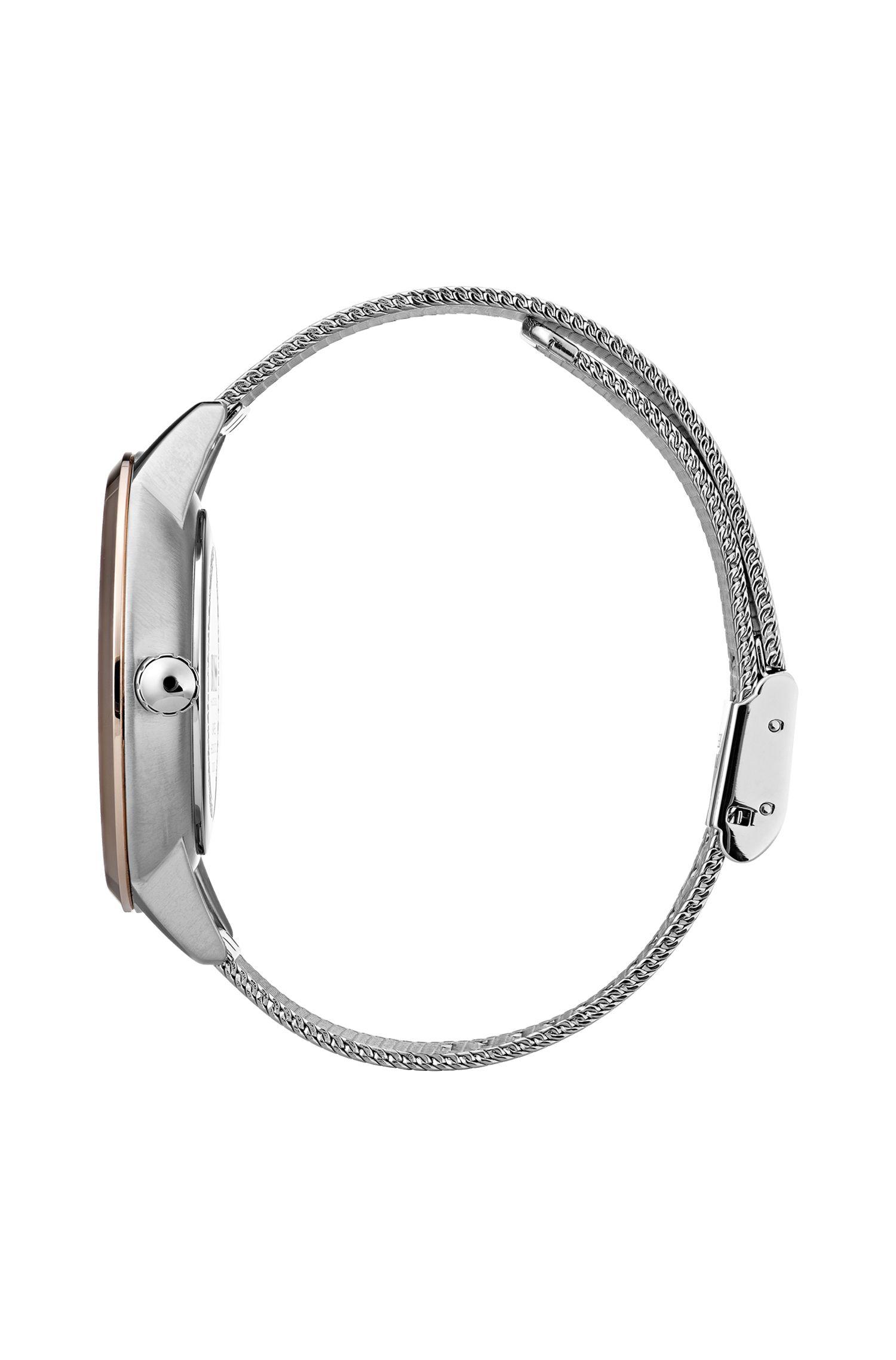 Montre à bracelet en maille avec diamants véritables, Argent