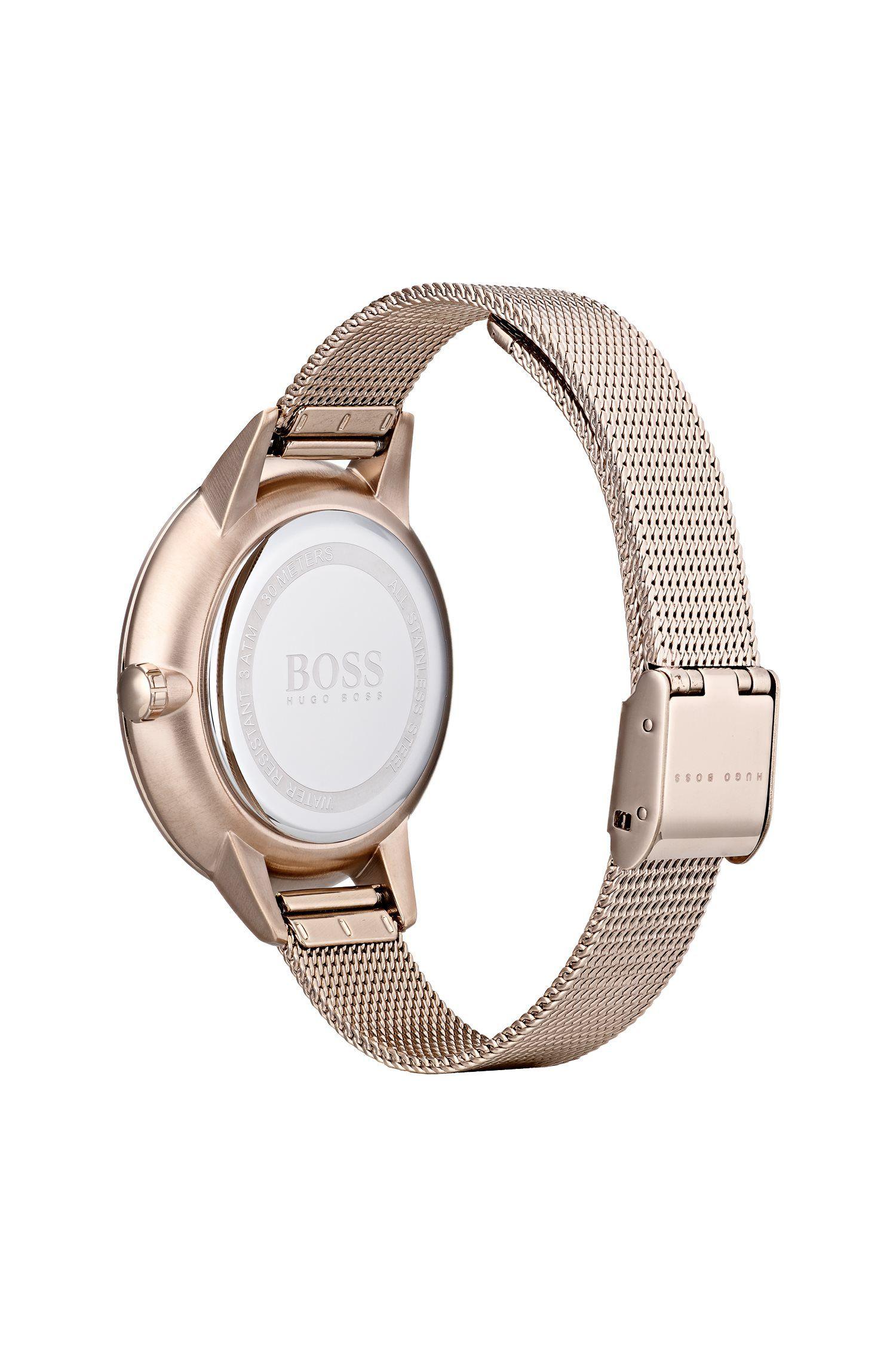 Horloge van licht goudkleurig gecoat staal met meerdere kleine wijzerplaten, goud