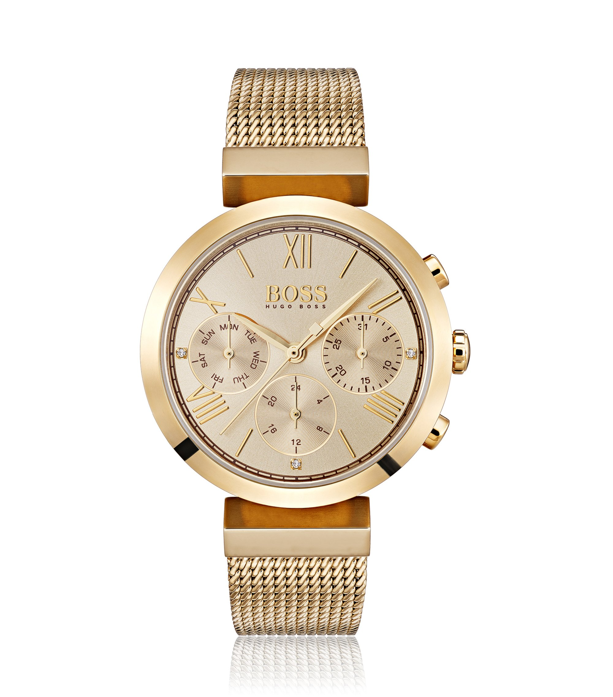 Multi-eye quartz watch in plated stainless steel, Gold