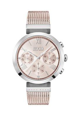 Horloge met polsband in meshstructuur en T-vormig detail
