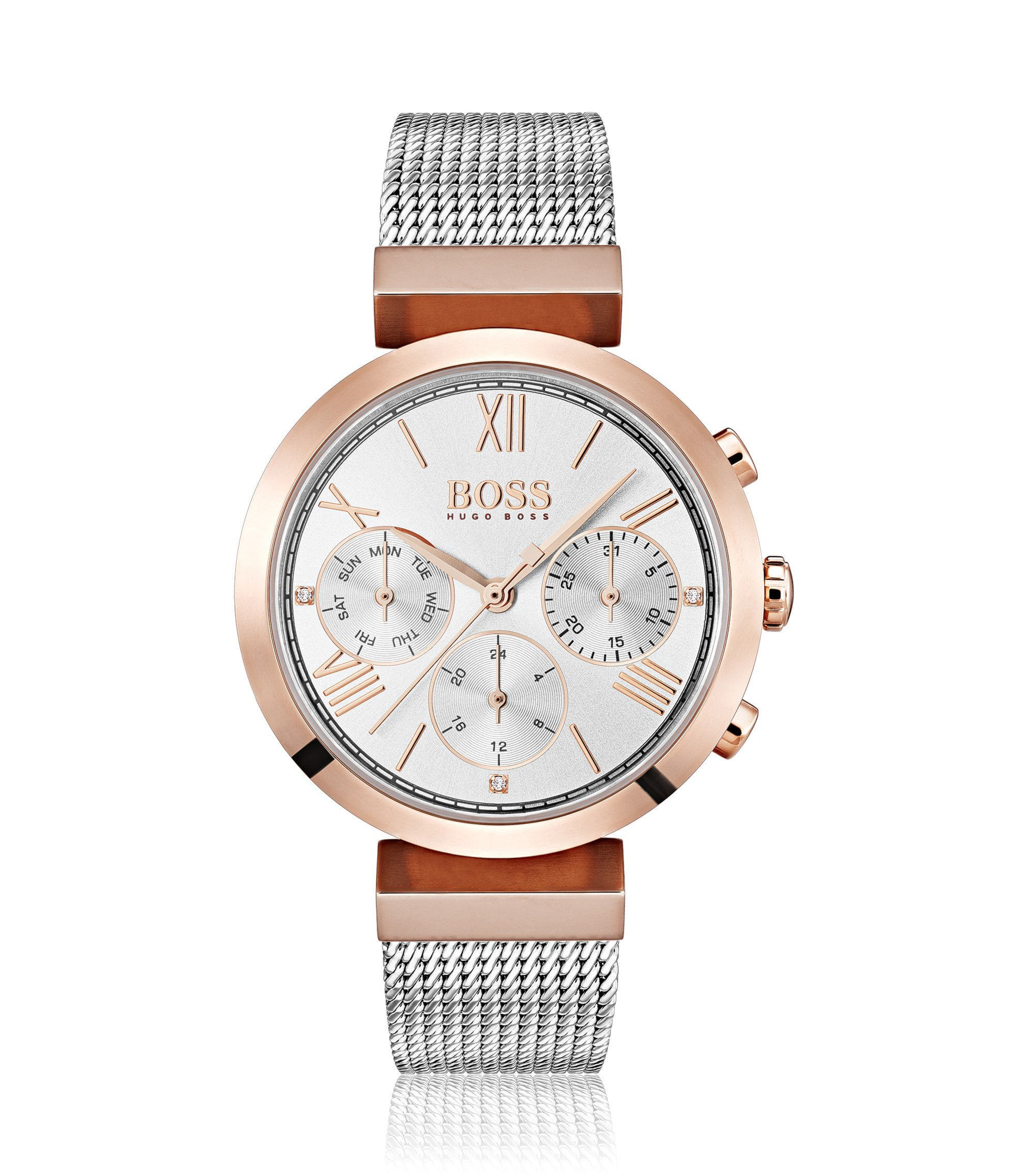 Multi-eye watch in carnation-gold, Silver