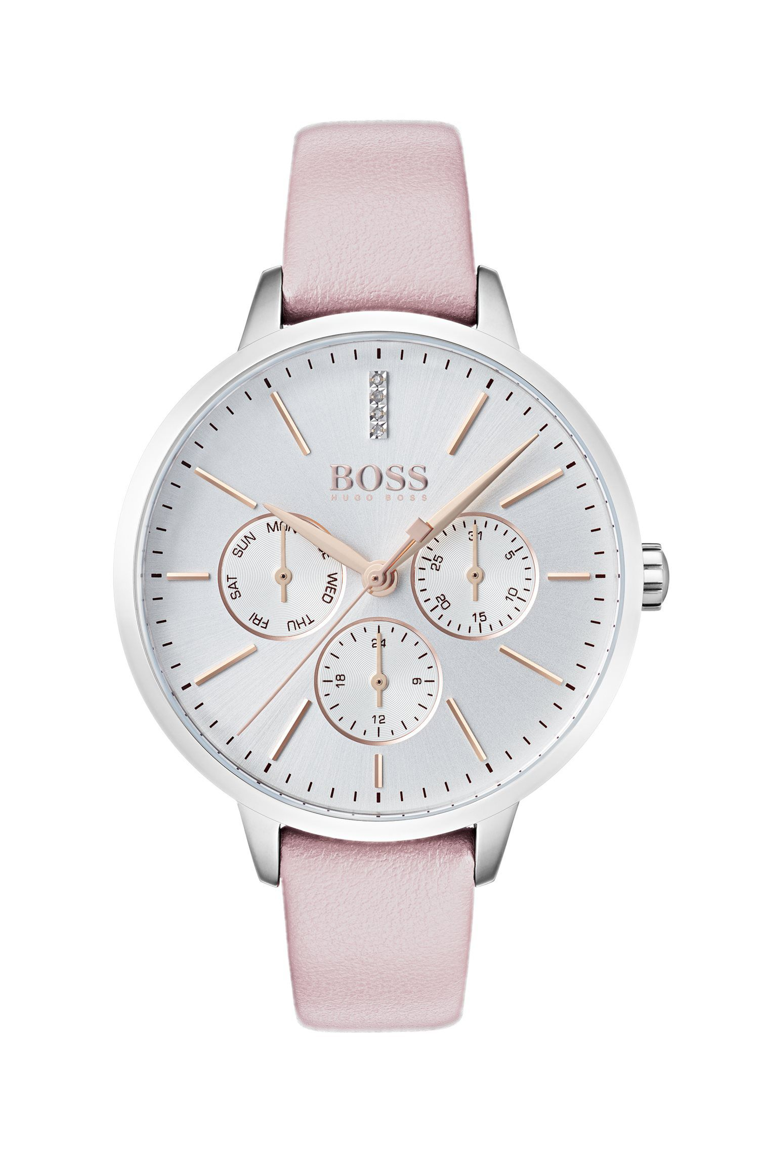 Multi-eye watch with diamonds and leather strap, light pink