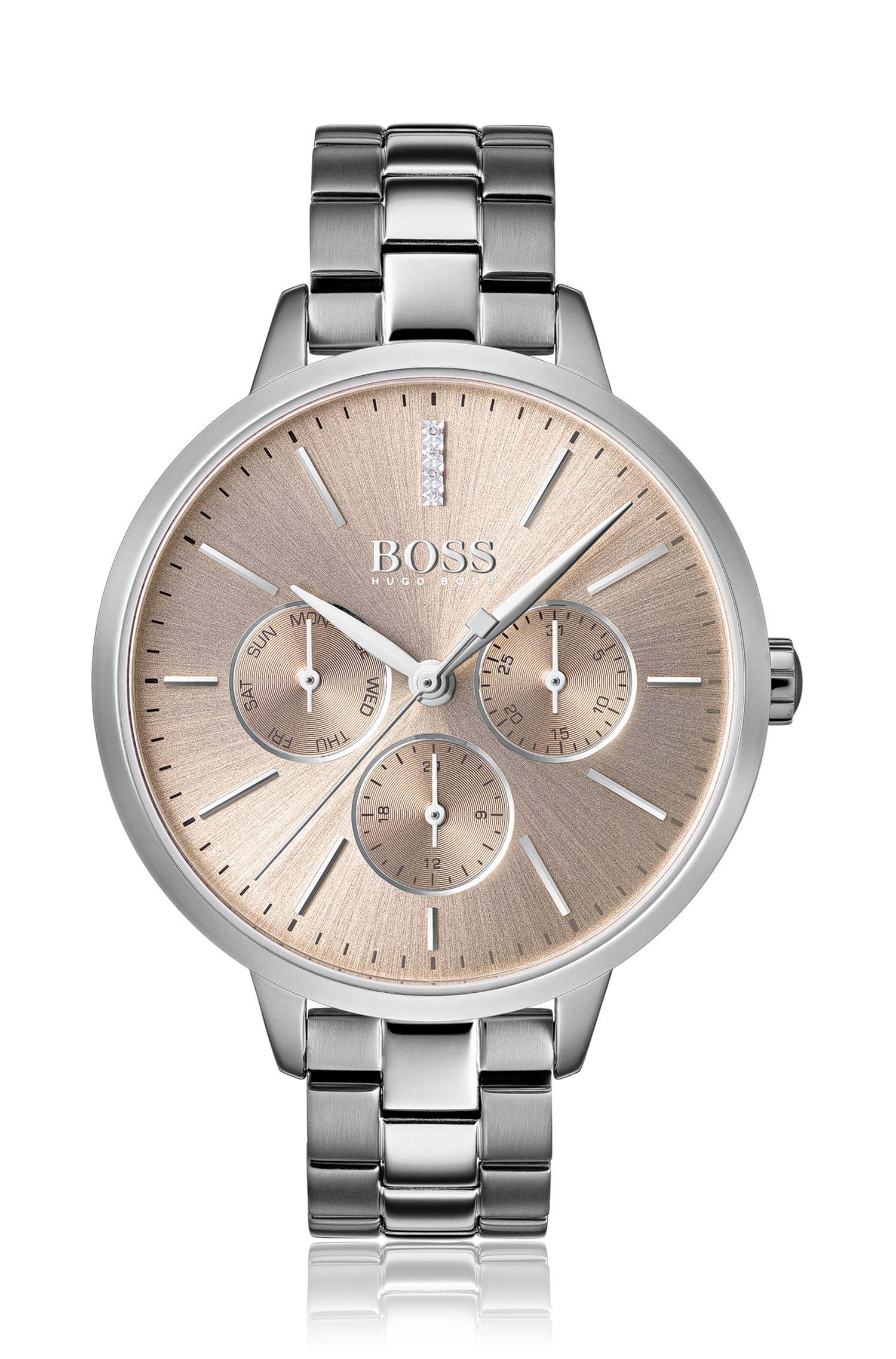 Round-case watch with genuine diamonds, Silver