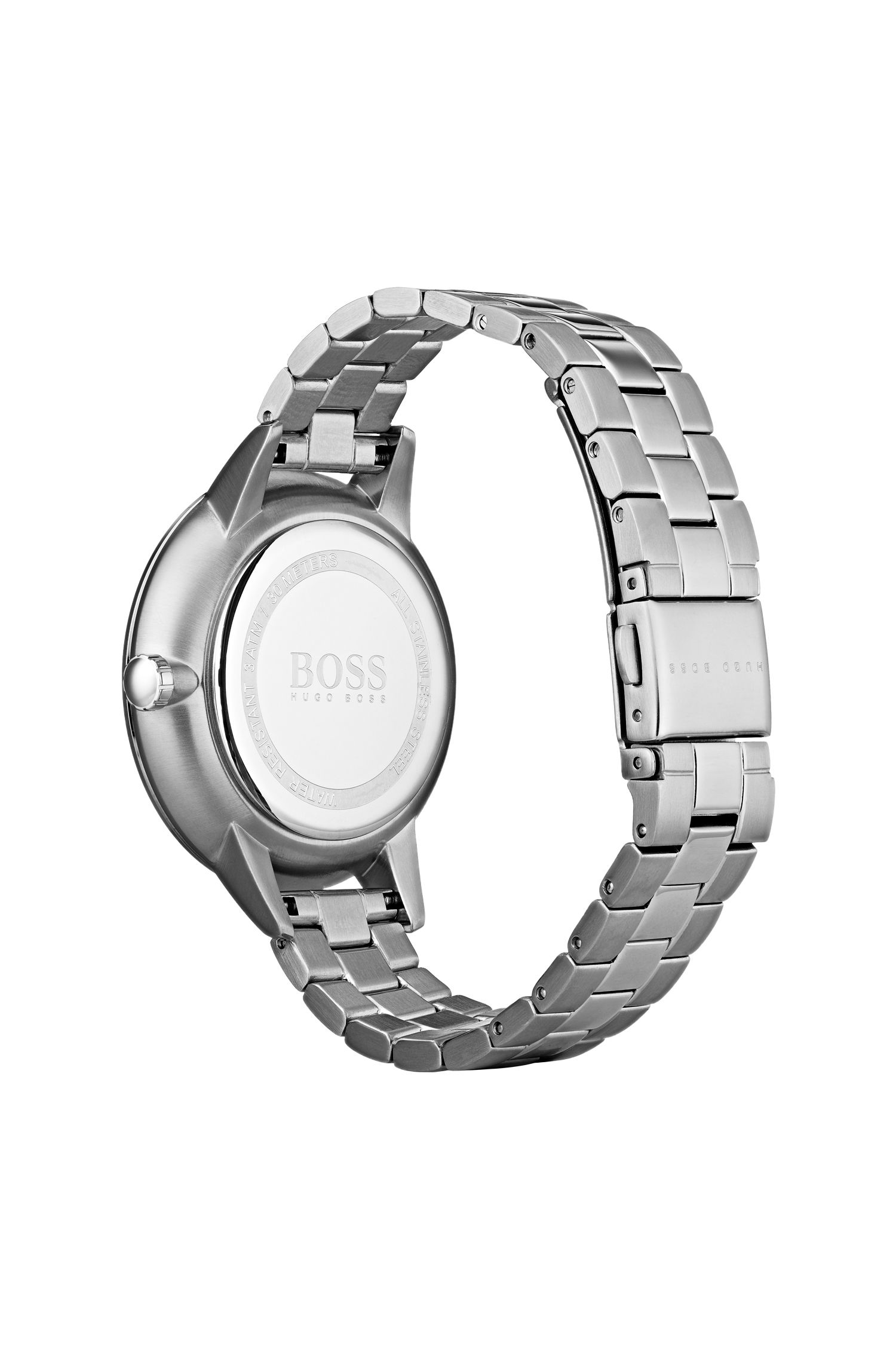 Round-case watch with genuine diamonds, Silver