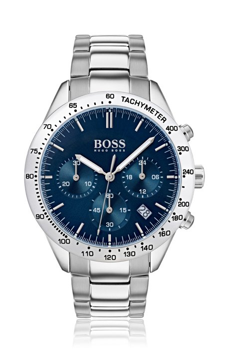 Blue-dial chronograph watch with stainless-steel link strap, Assorted-Pre-Pack