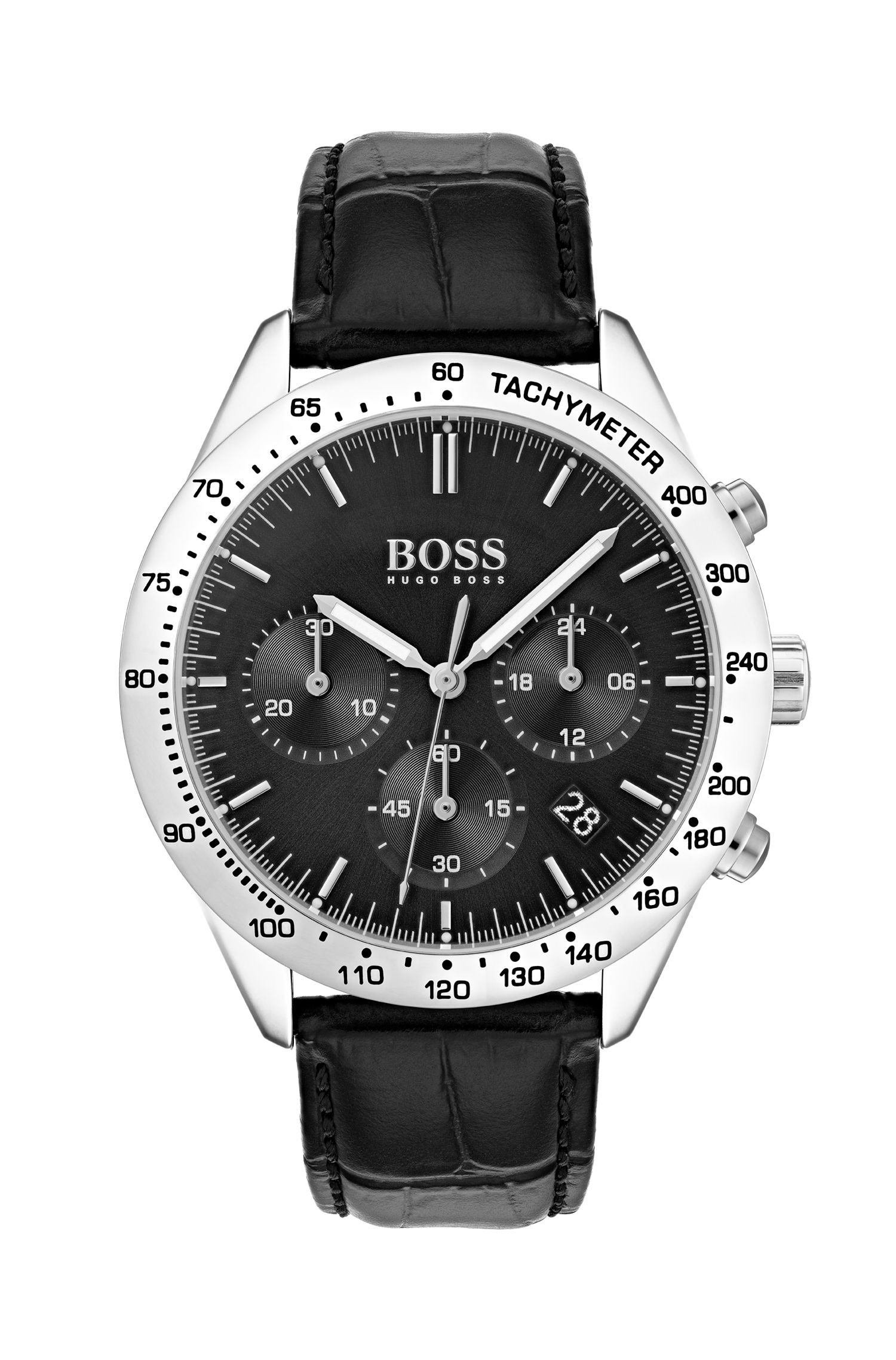 Black-dial chronograph watch with embossed leather strap, Assorted-Pre-Pack