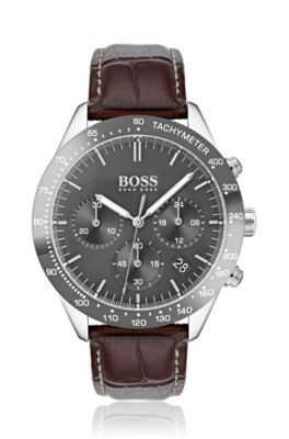 Chronograph Watch With Grey Plated Case And Leather Strap