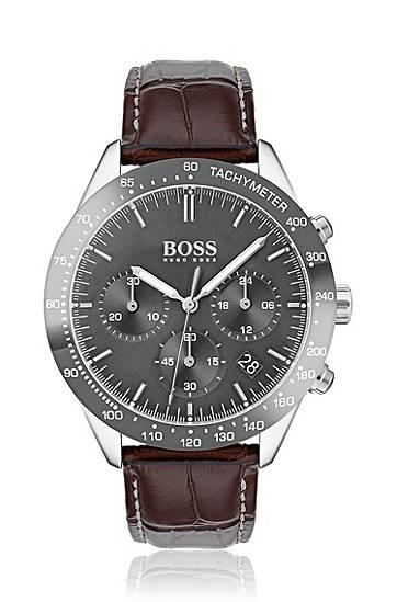 boss  Montre chronographe à boîtier plaqué gris et bracelet en cuir Mécanisme... par LeGuide.com Publicité