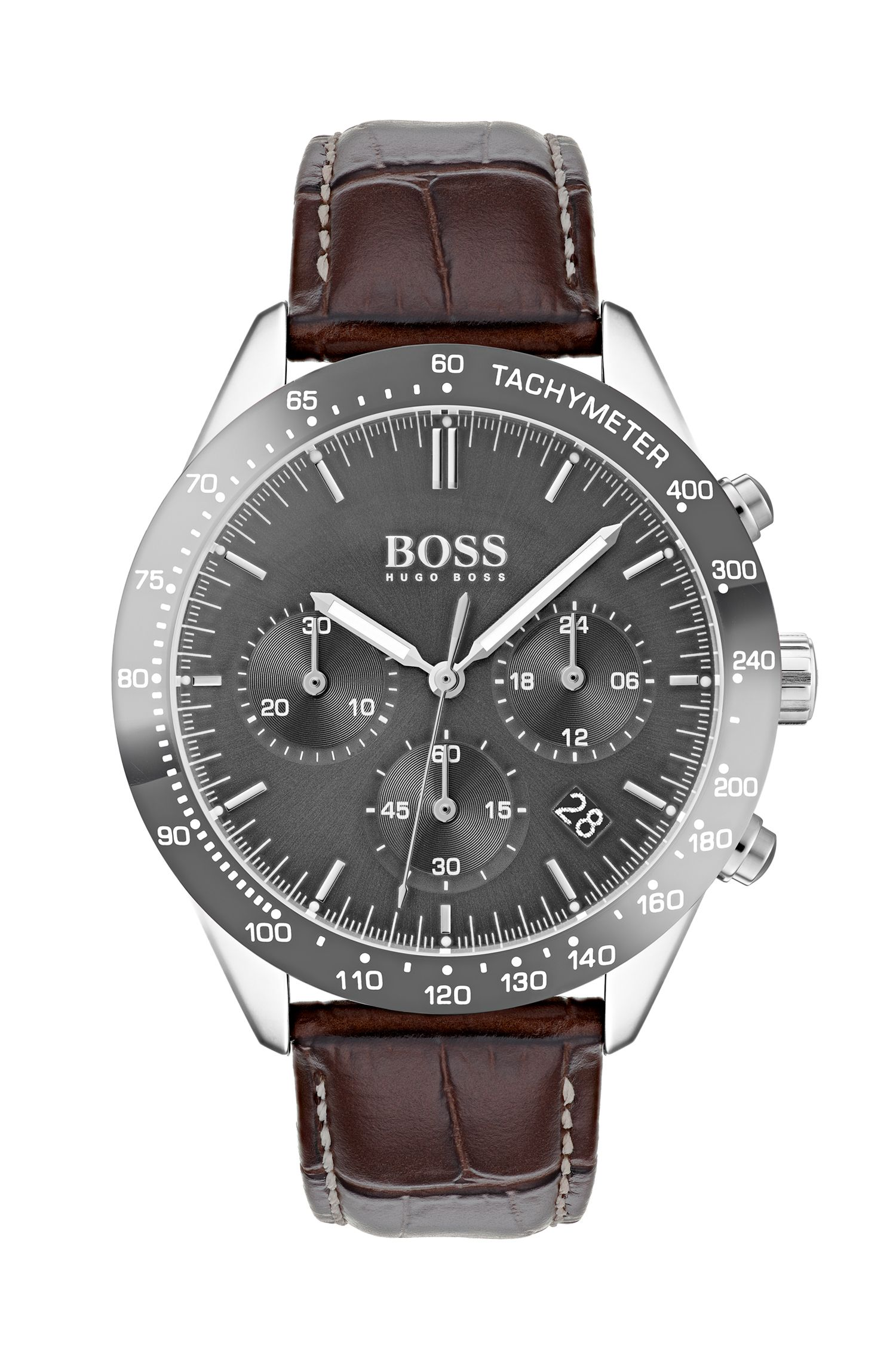Chronograph watch with grey-plated case and leather strap