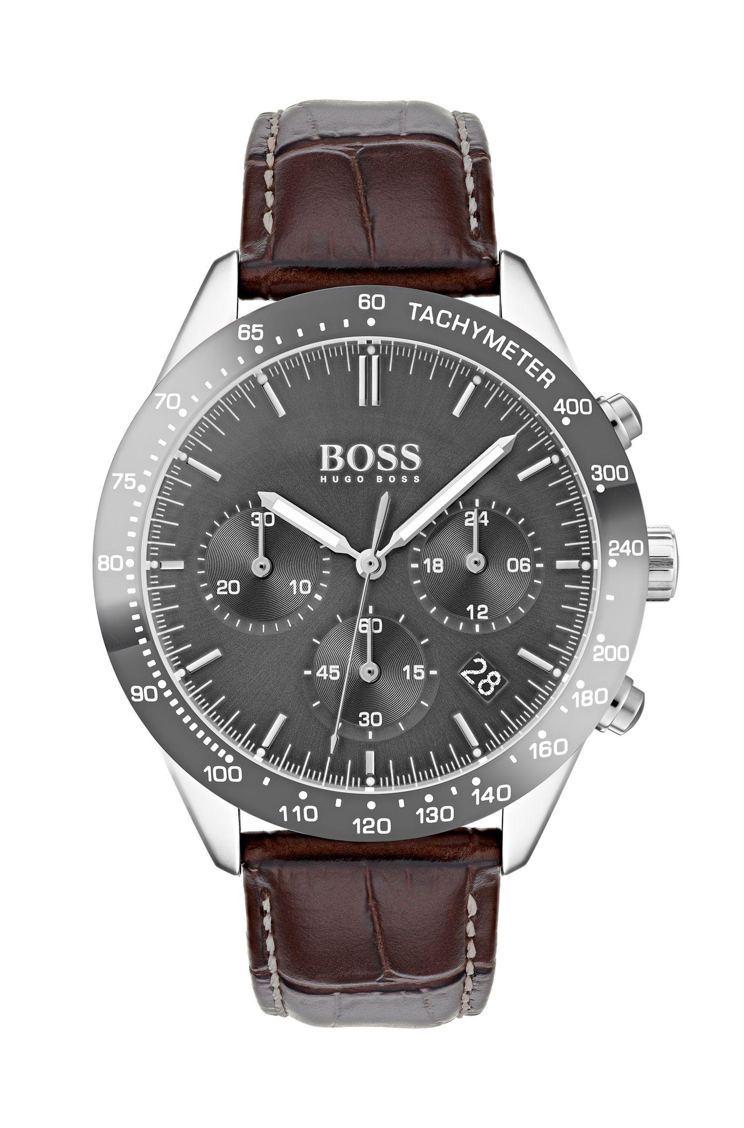Cronografo con cassa placcata grigia e cinturino in pelle, Assorted-Pre-Pack